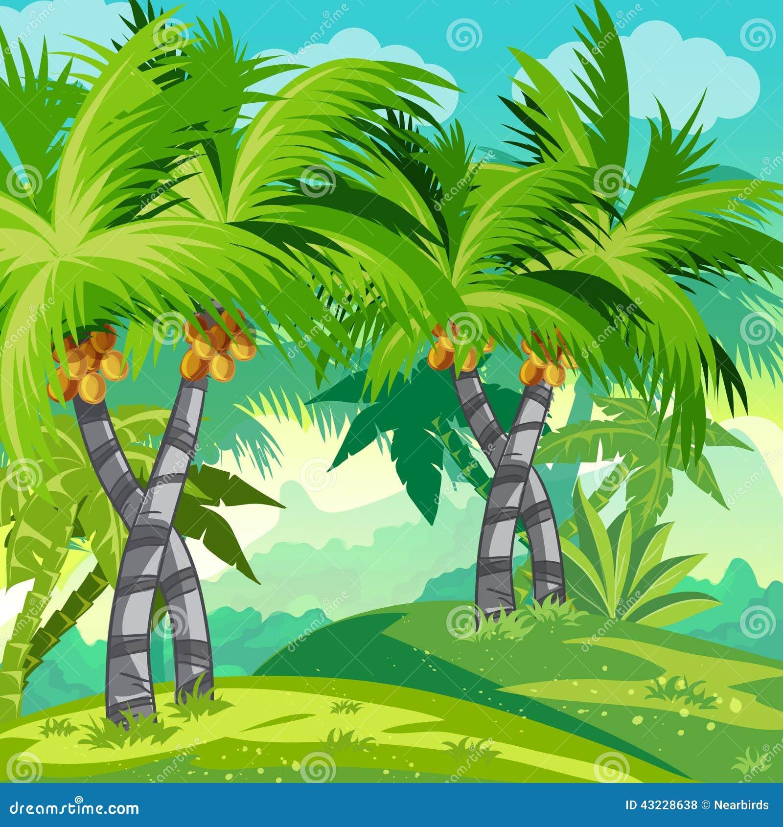 Ζούγκλα απεικόνισης παιδιών με τα δέντρα καρύδων