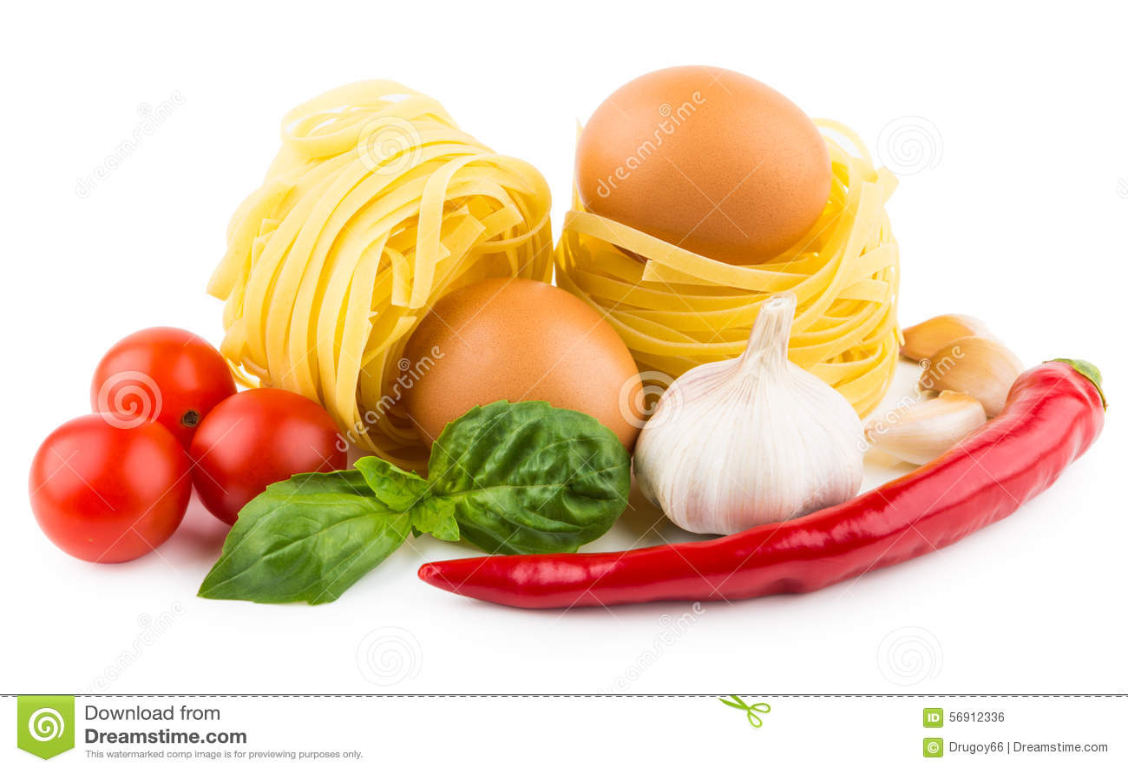 Ζυμαρικά tagliatelle, ντομάτες, σκόρδο, πιπέρι τσίλι και βασιλικός leav