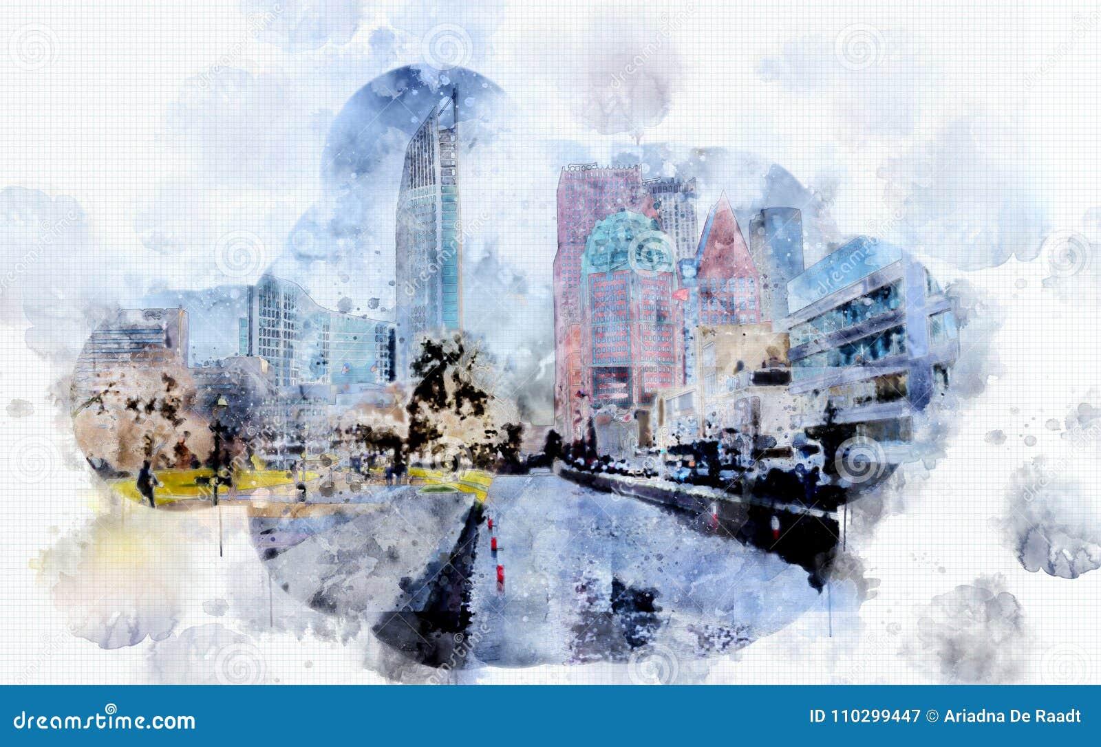 Ζωή πόλεων στο ύφος watercolor