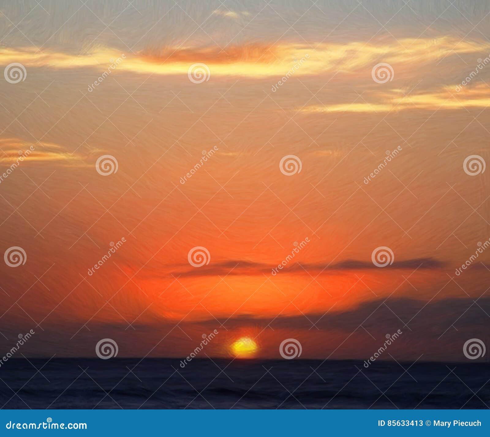 Ζωγραφική ηλιοβασιλέματος πορτοκαλιάς πυράκτωσης