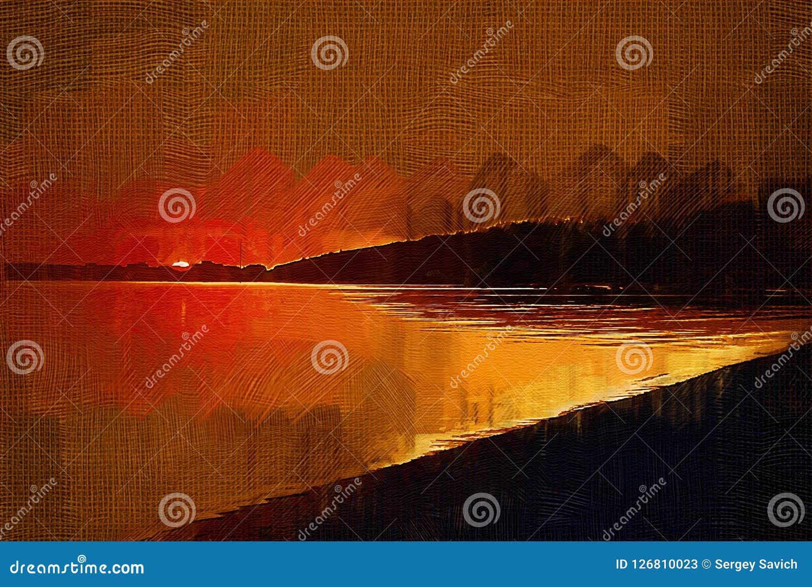 Ζωγραφική με το ηλιοβασίλεμα επίδρασης πετρελαίου στον κόλπο