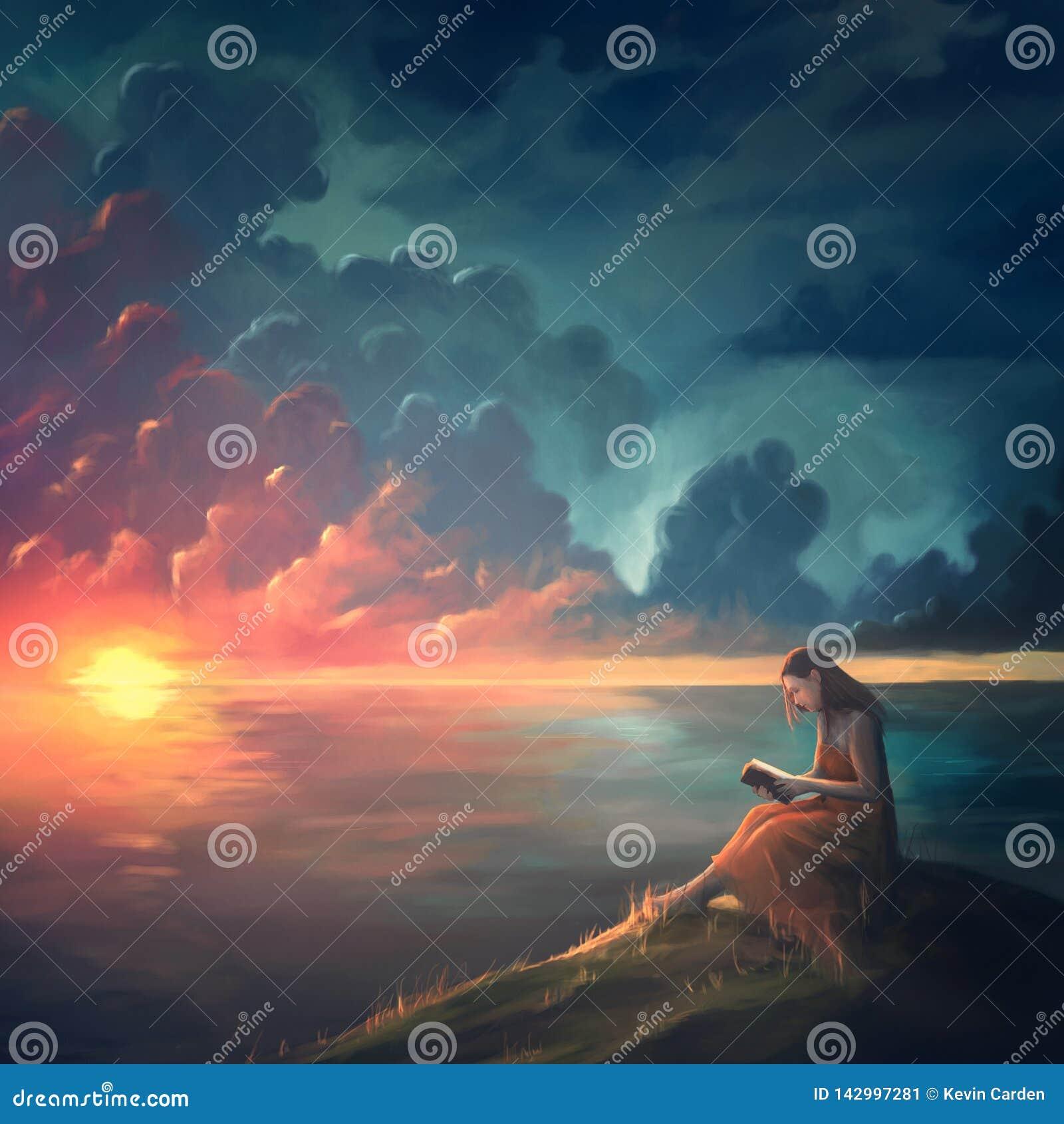Ζωγραφική μιας γυναίκας στο ηλιοβασίλεμα
