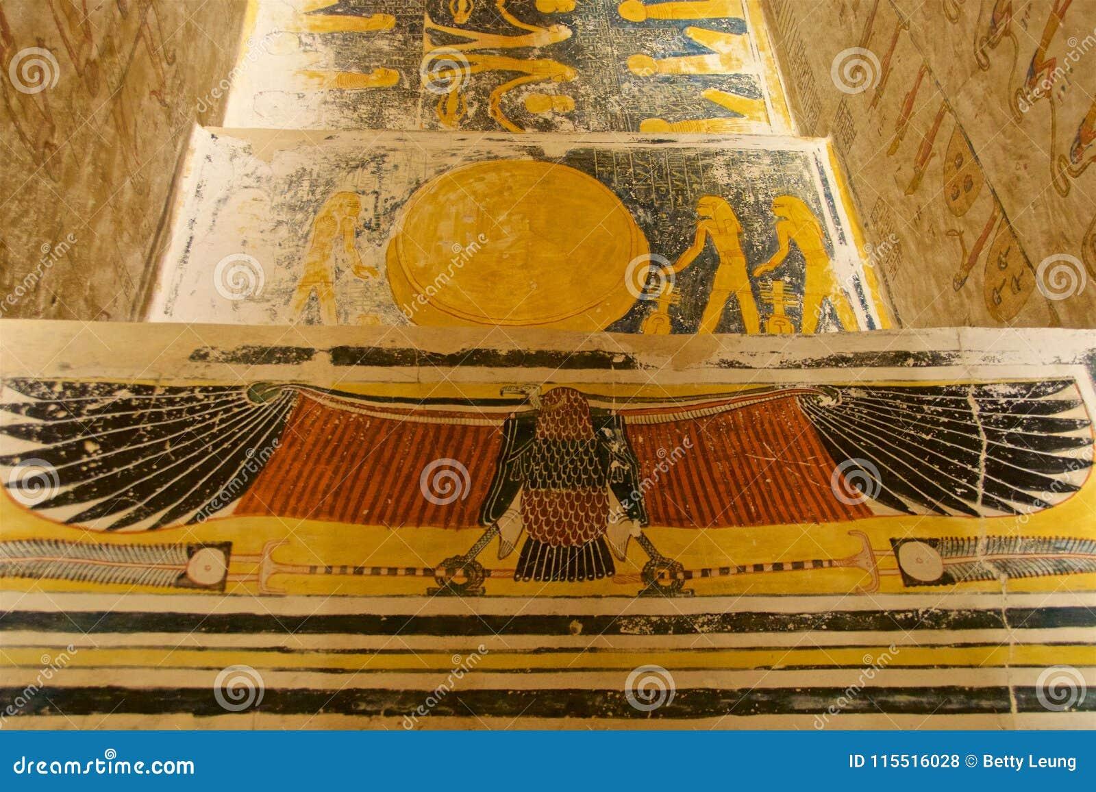 Ζωγραφική που βρίσκεται στον τάφο του βασιλιά Tut στην κοιλάδα των βασιλιάδων σε Luxor, Αίγυπτος