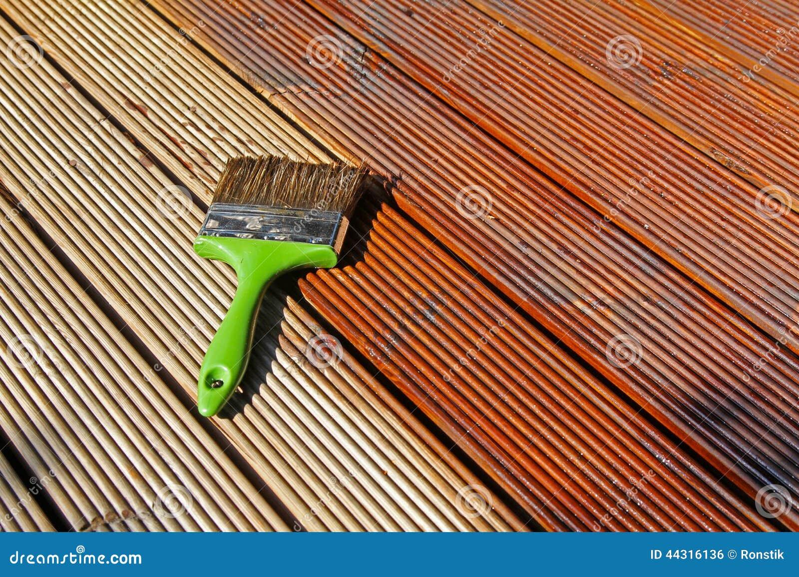 Ζωγραφική της ξύλινης γέφυρας patio με το προστατευτικό πετρέλαιο
