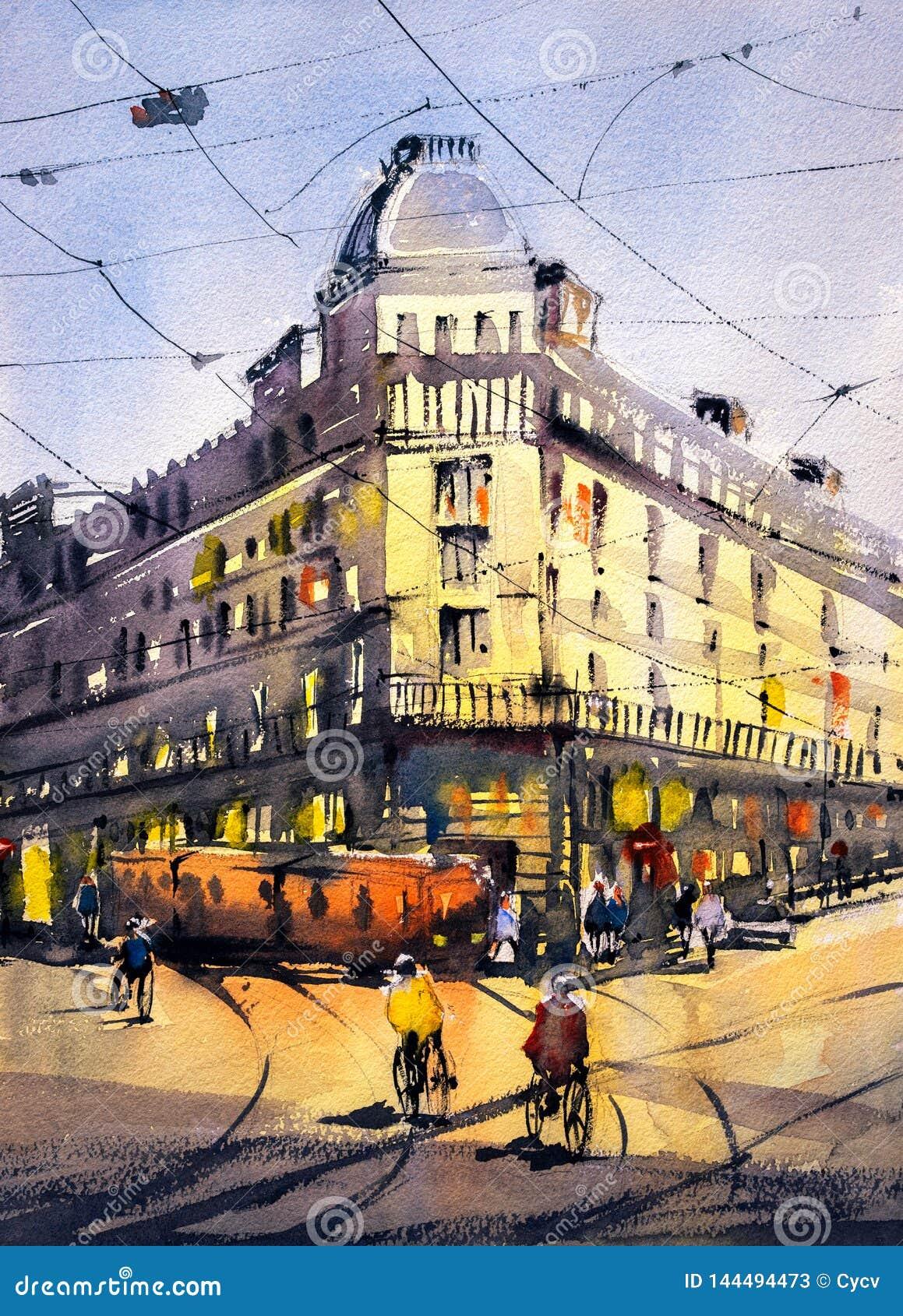 Ζωγραφική Watercolor - άποψη οδών του Παρισιού