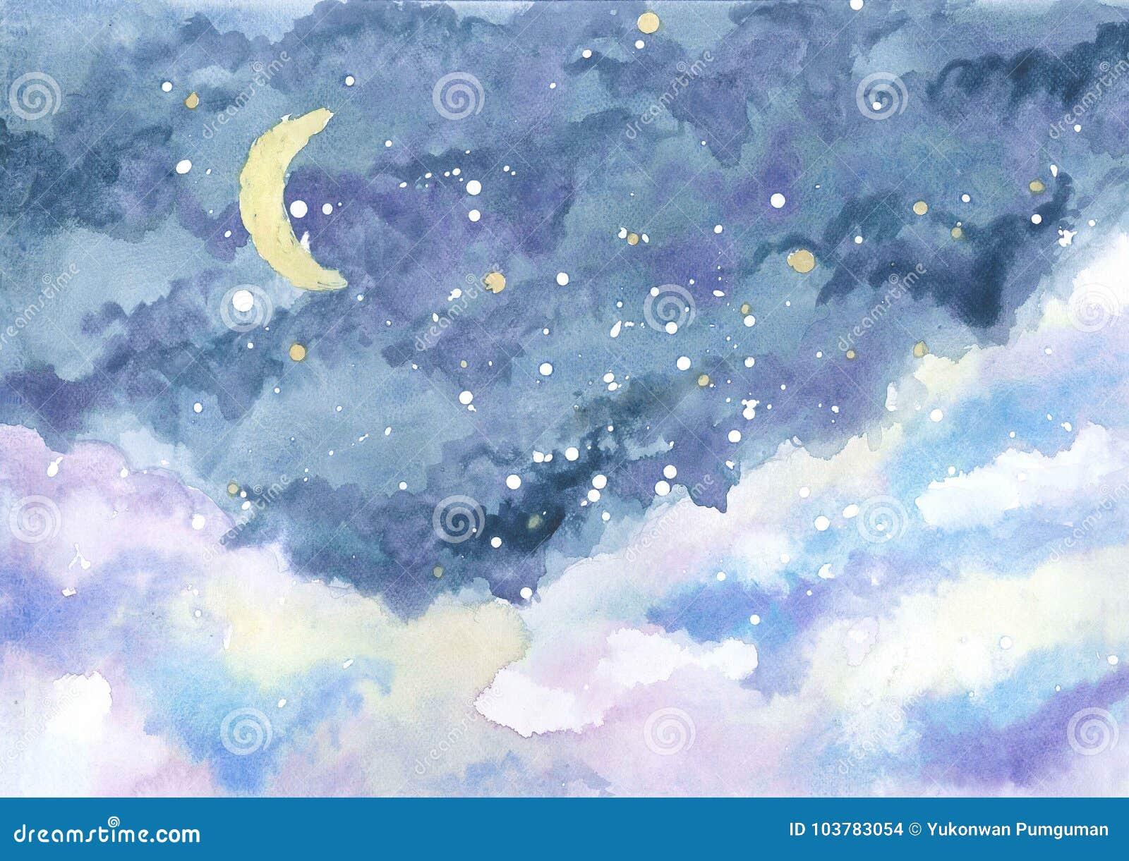 Ζωγραφική Watercolor του νυχτερινού ουρανού με το ημισεληνοειδές φεγγάρι μεταξύ των αστεριών