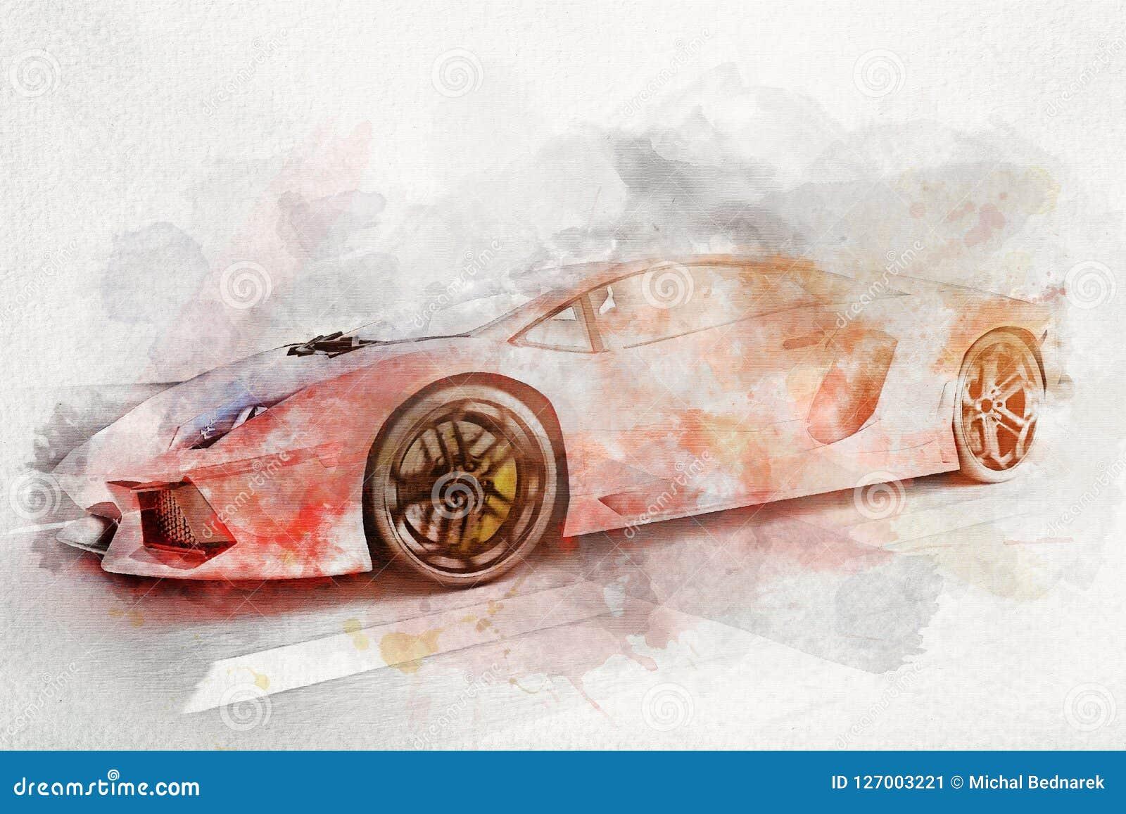Ζωγραφική Watercolor του σύγχρονου κόκκινου αθλητικού αυτοκινήτου