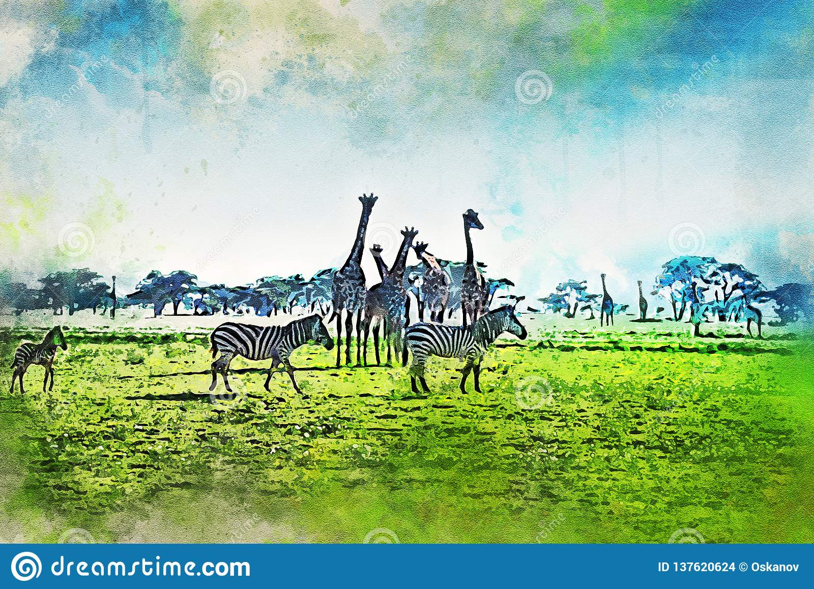 Ζωγραφική Watercolor του φυσικού τοπίου της σαβάνας