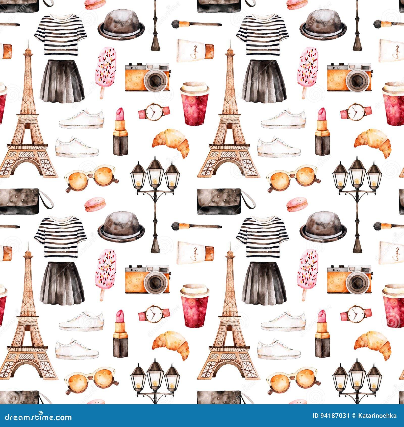 Ζωγραφισμένη στο χέρι σύσταση με τη ριγωτή κορυφή, καλλυντικά, γύρος Άιφελ, καφές, παπούτσια, φούστα, τσάντα