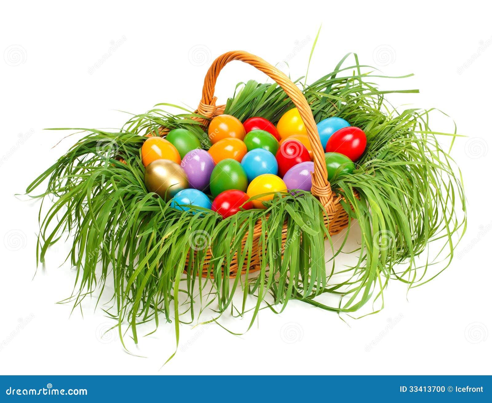 Ζωηρόχρωμα αυγά Πάσχας στο καλάθι