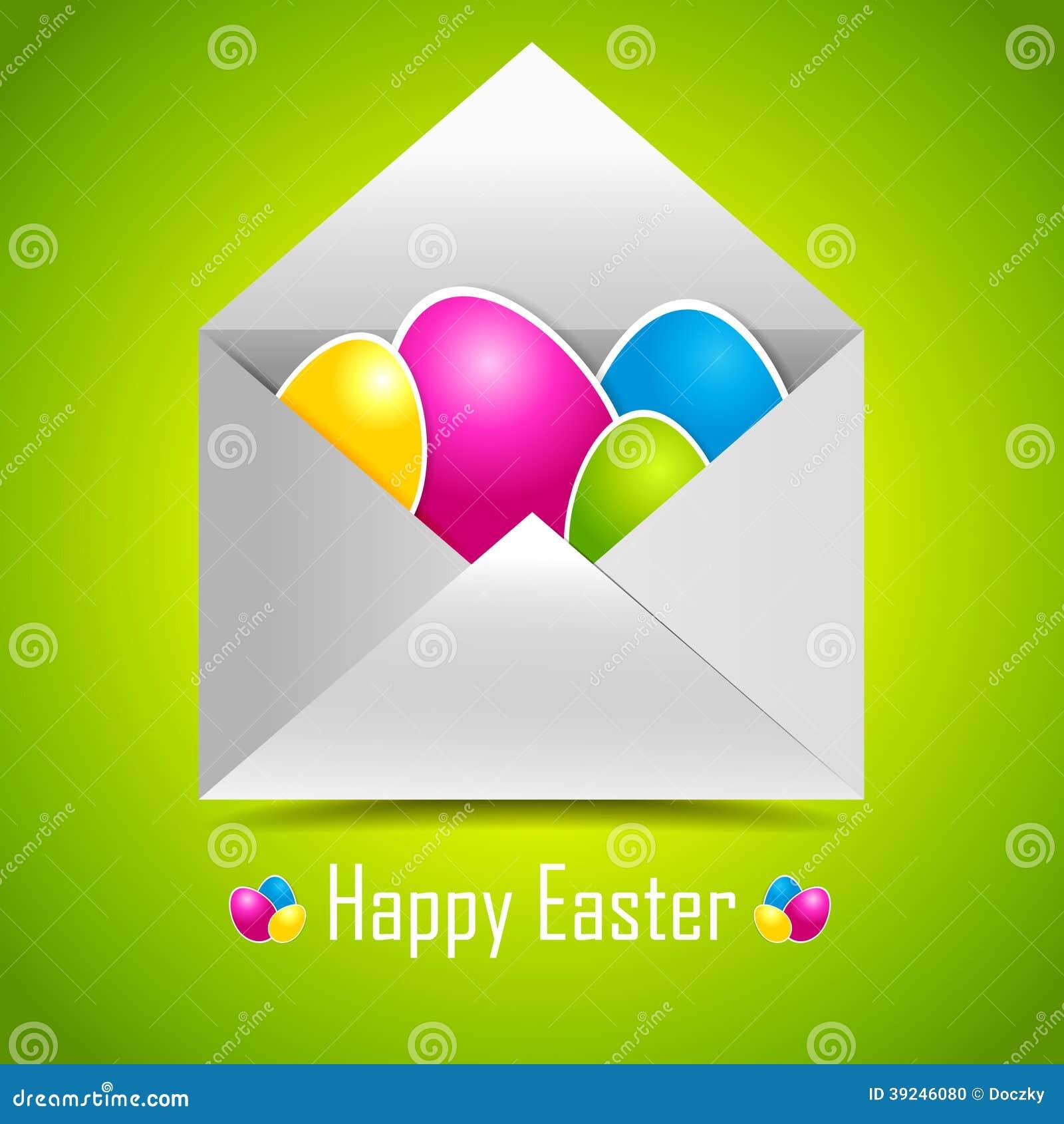 Ζωηρόχρωμα αυγά Πάσχας στο φάκελο ταχυδρομείου.