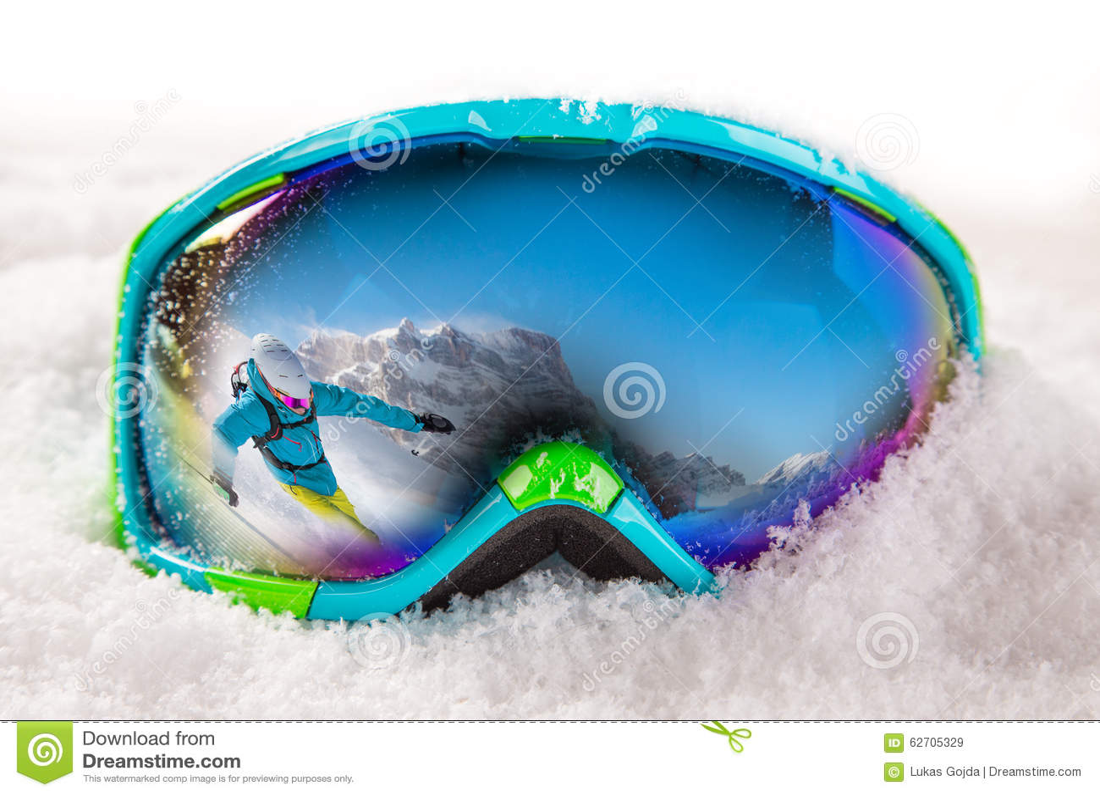 Download Ζωηρόχρωμα γυαλιά σκι στοκ εικόνα. εικόνα από αλπικό - 62705329