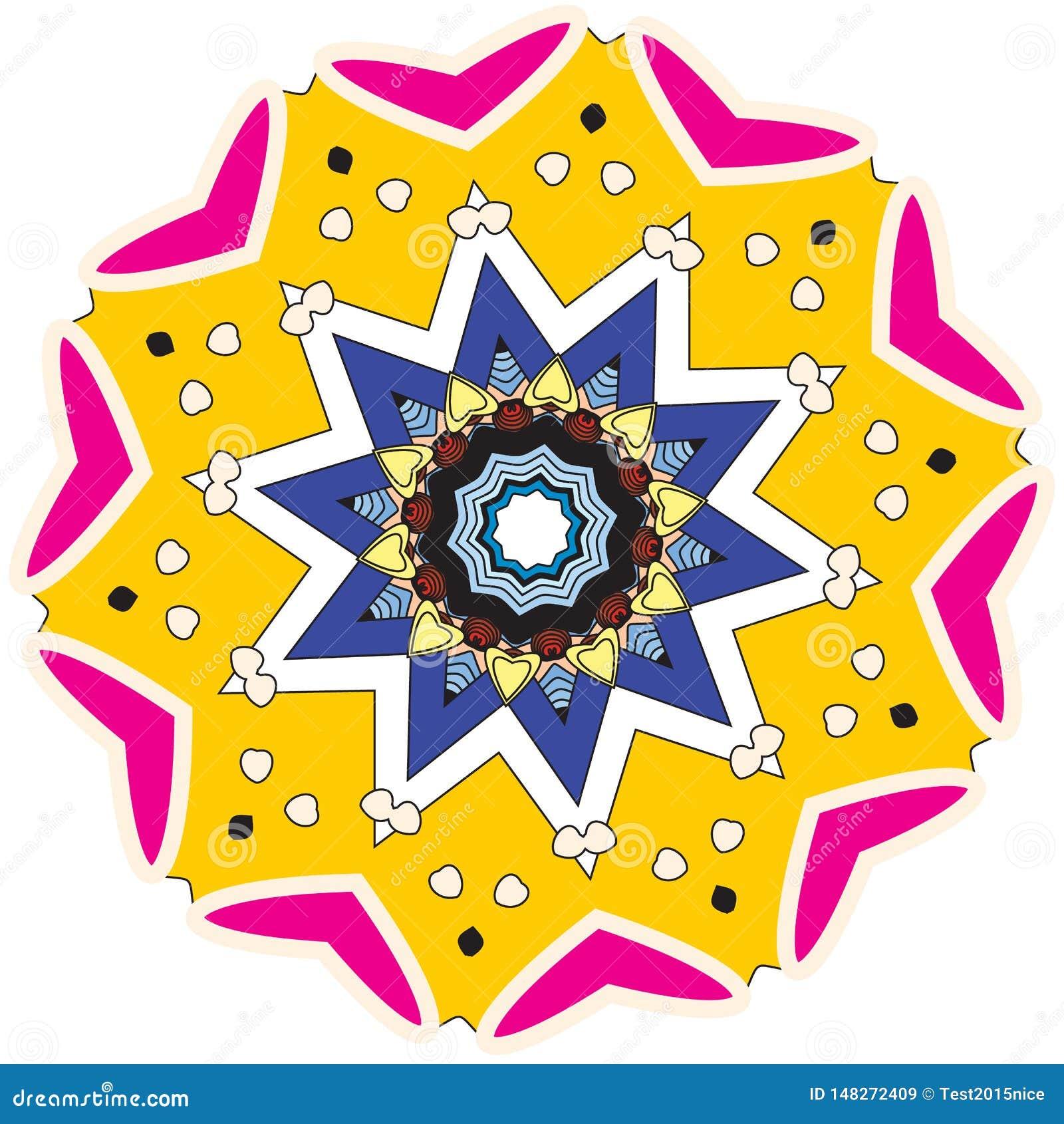 Ζωηρόχρωμα διαμορφωμένα στοιχεία και επεξηγηματικό mandala χρωματισμού
