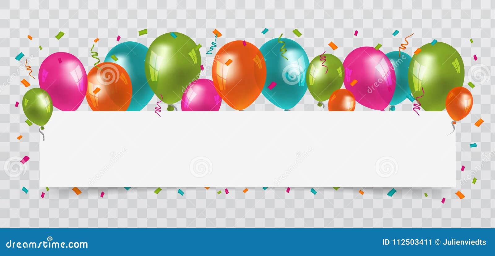 Ζωηρόχρωμα μπαλόνια με το κομφετί και τη Λευκή Βίβλο ταινιών ελεύθερου χώρου ανασκόπηση διαφανής Γενέθλια, κόμμα και διάνυσμα καρ