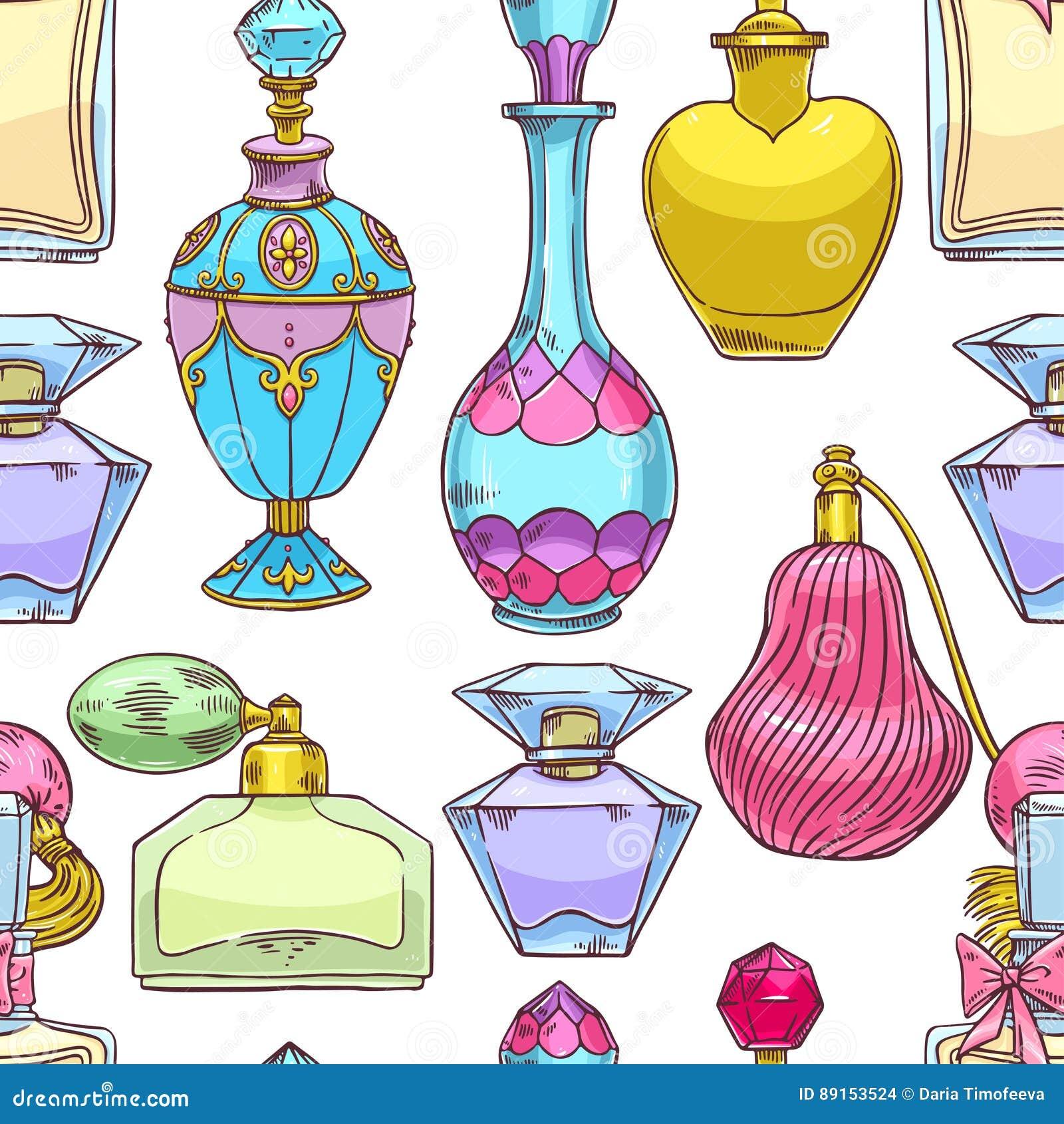 Ζωηρόχρωμα μπουκάλια αρώματος των άνευ ραφής γυναικών