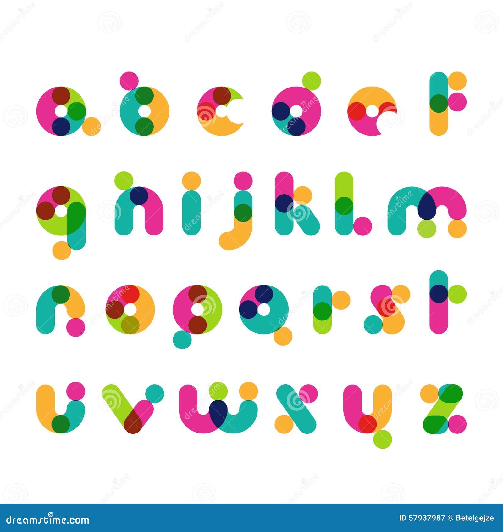 Ζωηρόχρωμα στρογγυλά σύγχρονα σύμβολα πηγών Λατινικό διακοσμητικό αλφάβητο