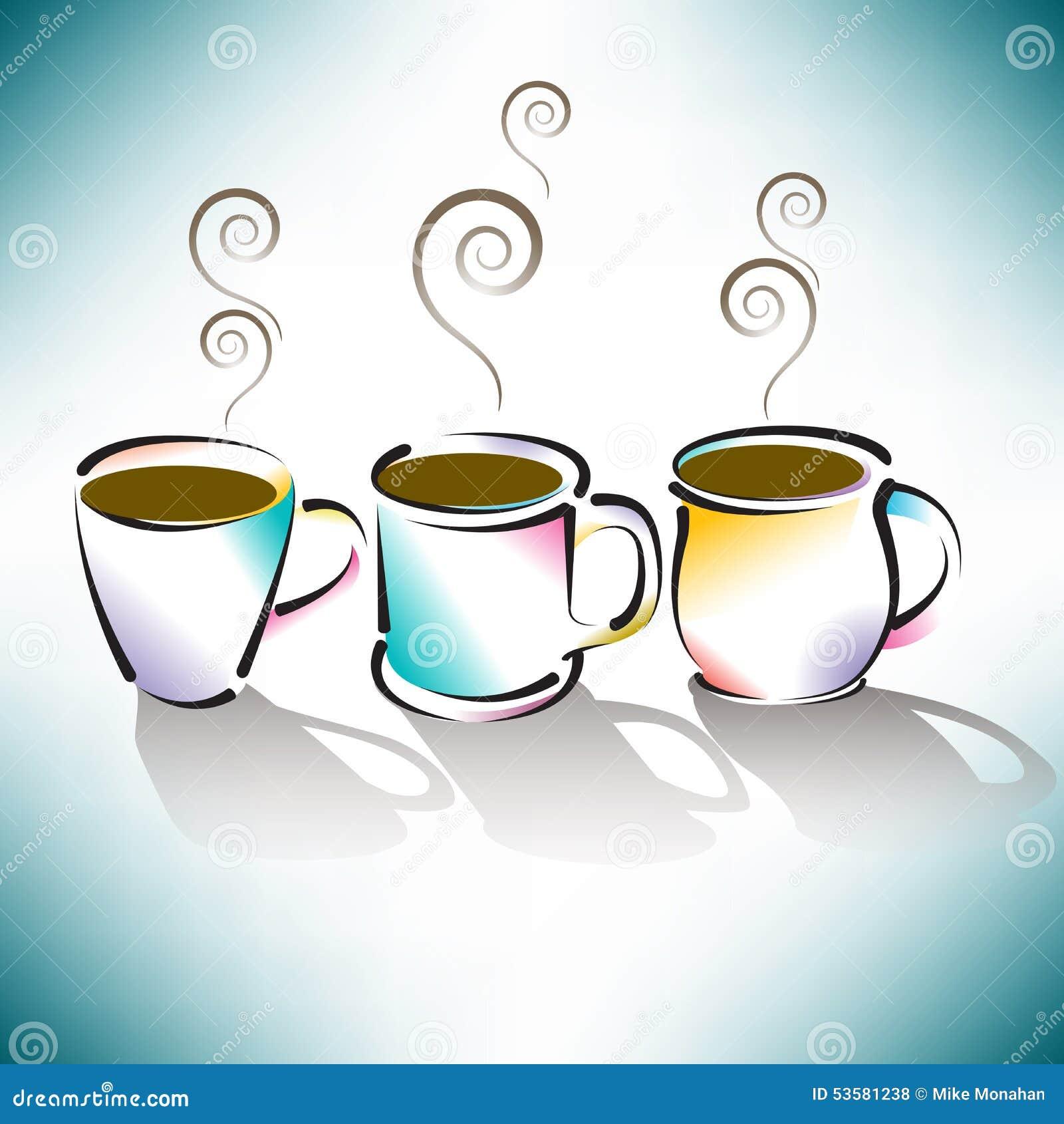 ζωηρόχρωμα φλυτζάνια τρία καφέ