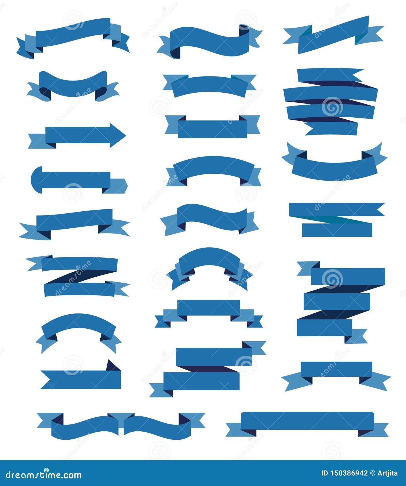 Ζωηρόχρωμες μπλε κορδέλλες καθορισμένες