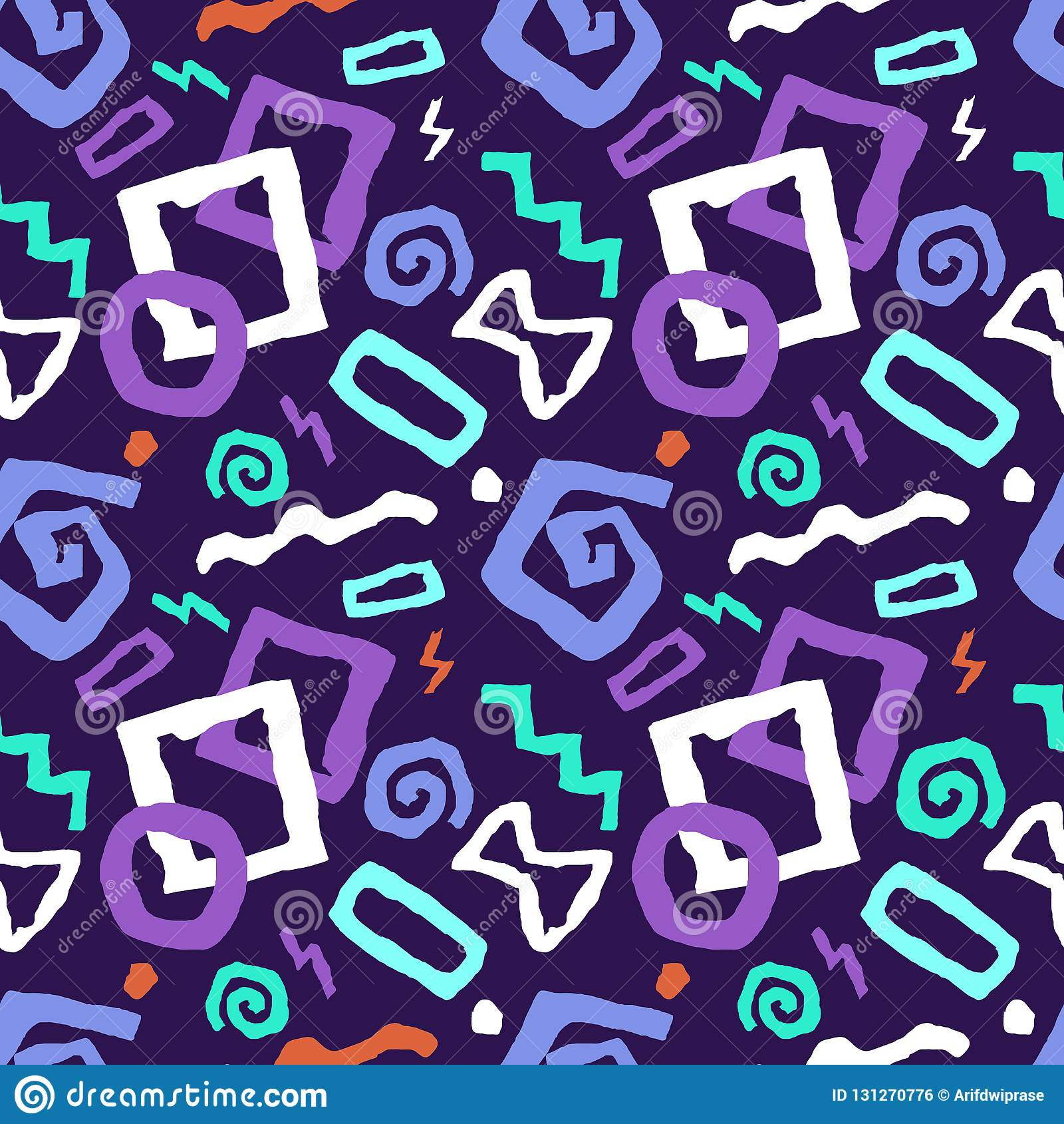 Ζωηρόχρωμη άνευ ραφής διανυσματική απεικόνιση σχεδίων τέχνης doodle στο purp