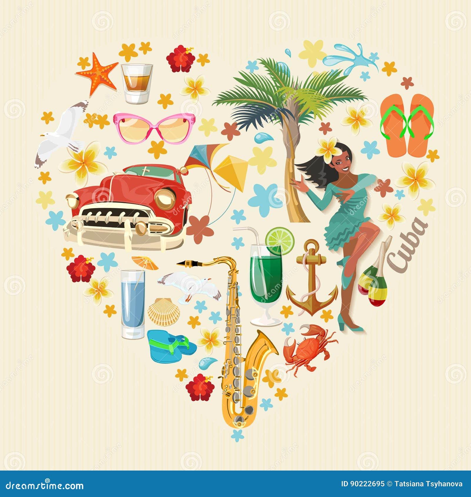 Ζωηρόχρωμη έννοια καρτών ταξιδιού της Κούβας απομονωμένο καρδιά λευκό ντοματών μορφής κόκκινος τρύγος ύφους κρίνων απεικόνισης Δι
