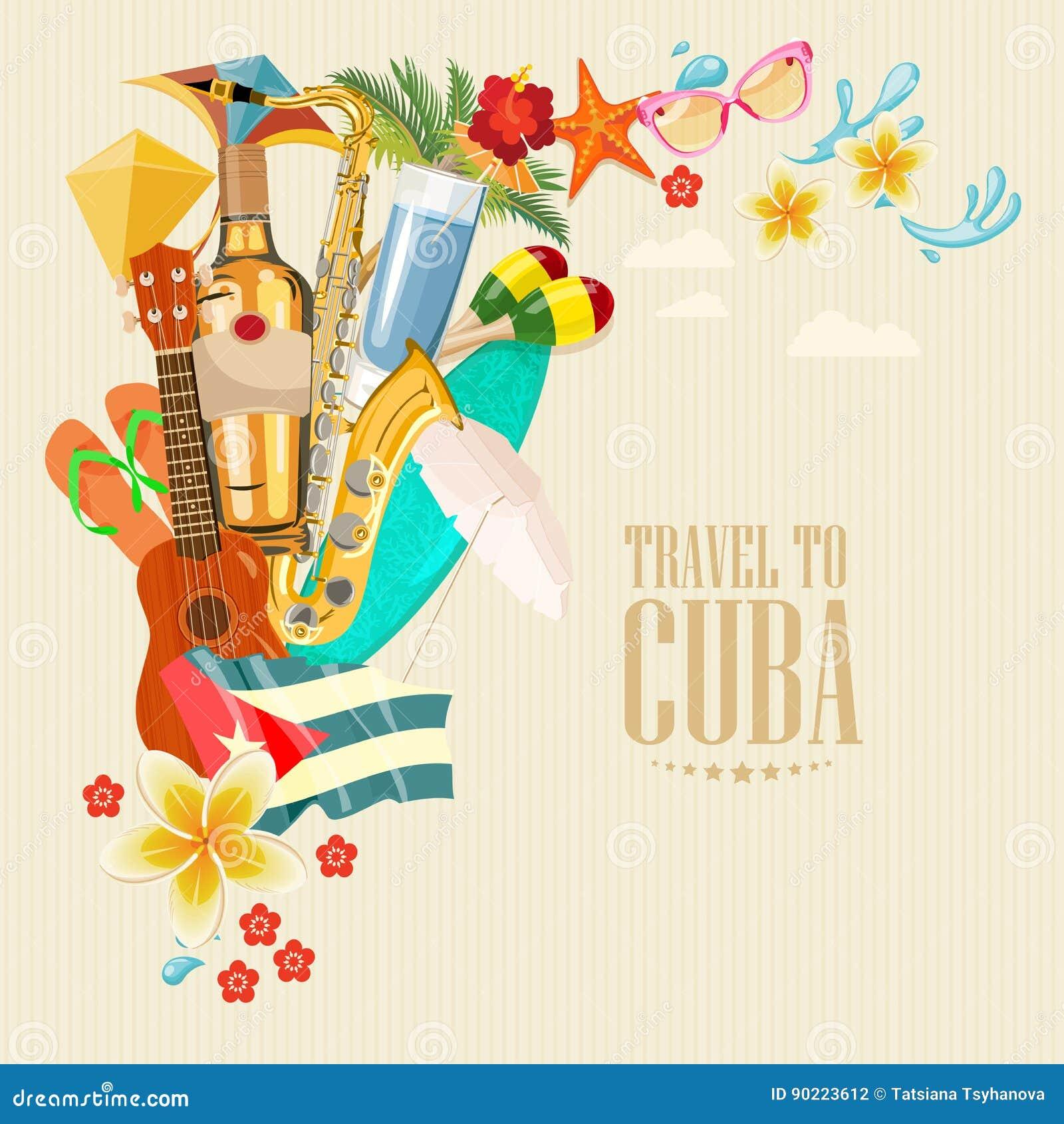 Ζωηρόχρωμη έννοια καρτών ταξιδιού της Κούβας Αφίσα ταξιδιού Διανυσματική απεικόνιση με τον κουβανικό πολιτισμό