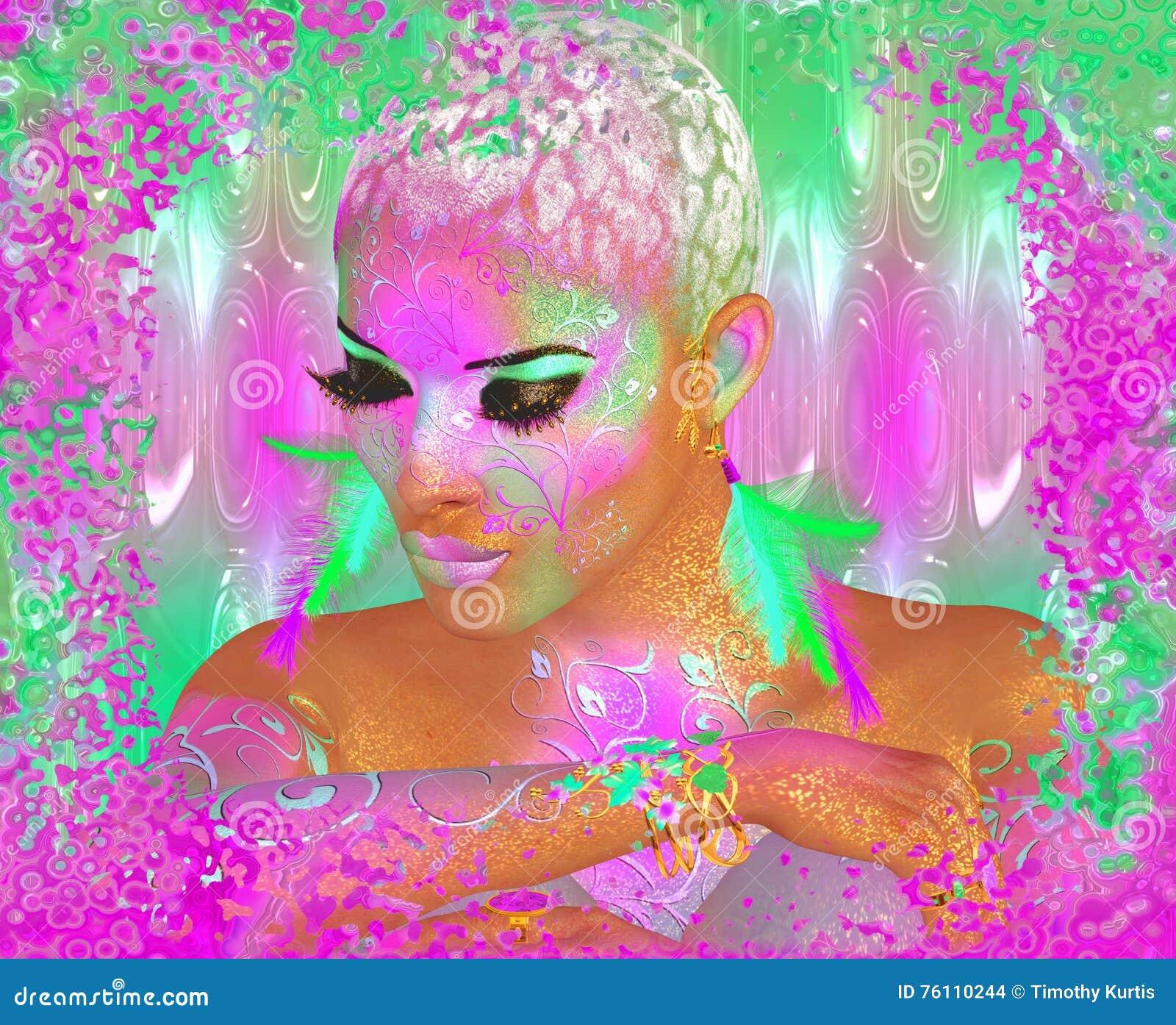 Ζωηρόχρωμη αφηρημένη, όμορφη γυναίκα μόδας, makeup, μακροχρόνια eyelashes με το σύντομα hairstyle και το pai σωμάτων