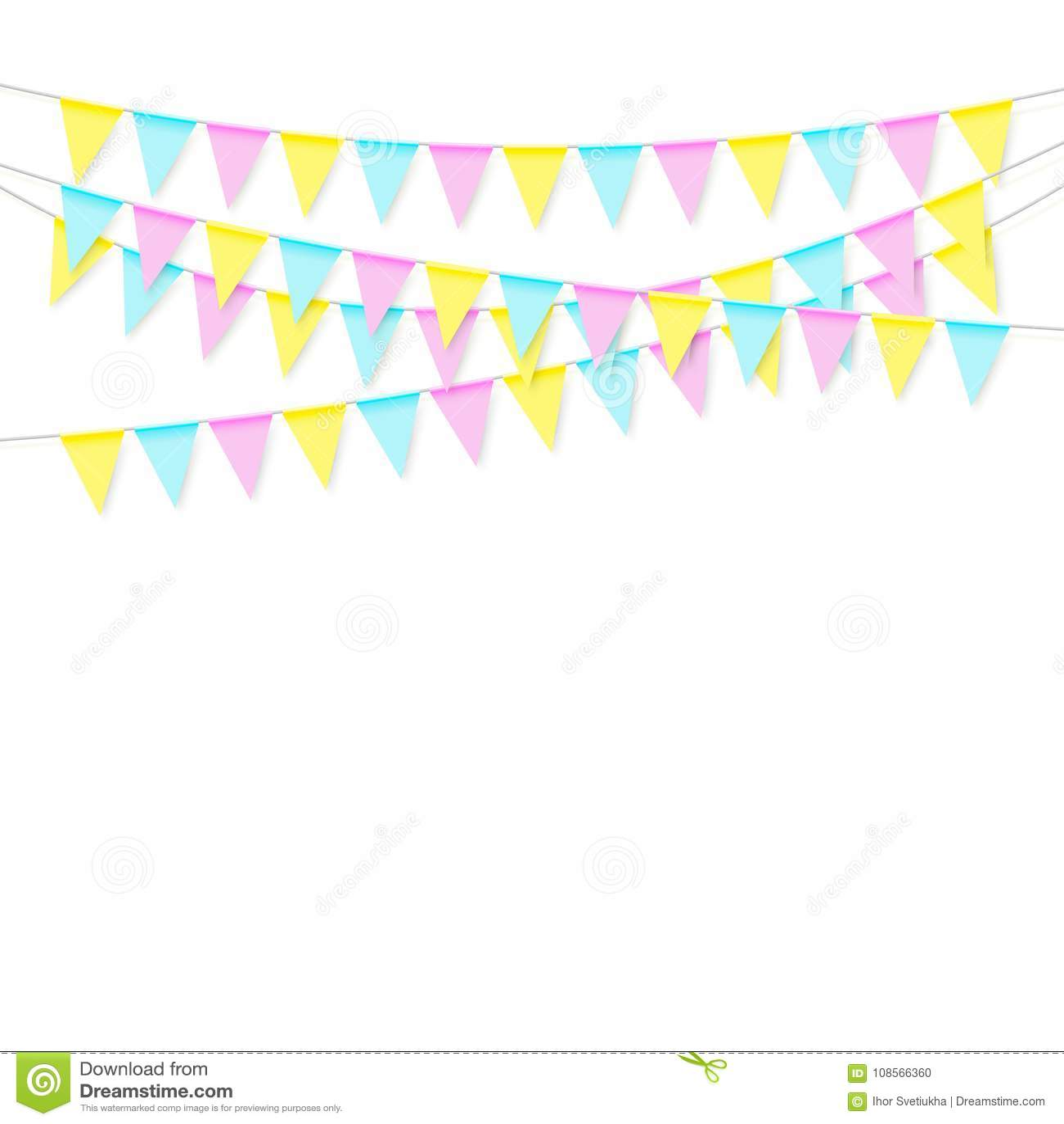 Ζωηρόχρωμη ρεαλιστική μαλακή ζωηρόχρωμη γιρλάντα σημαιών με τη σκιά Γιορτάστε το έμβλημα, σημαίες κομμάτων διάνυσμα