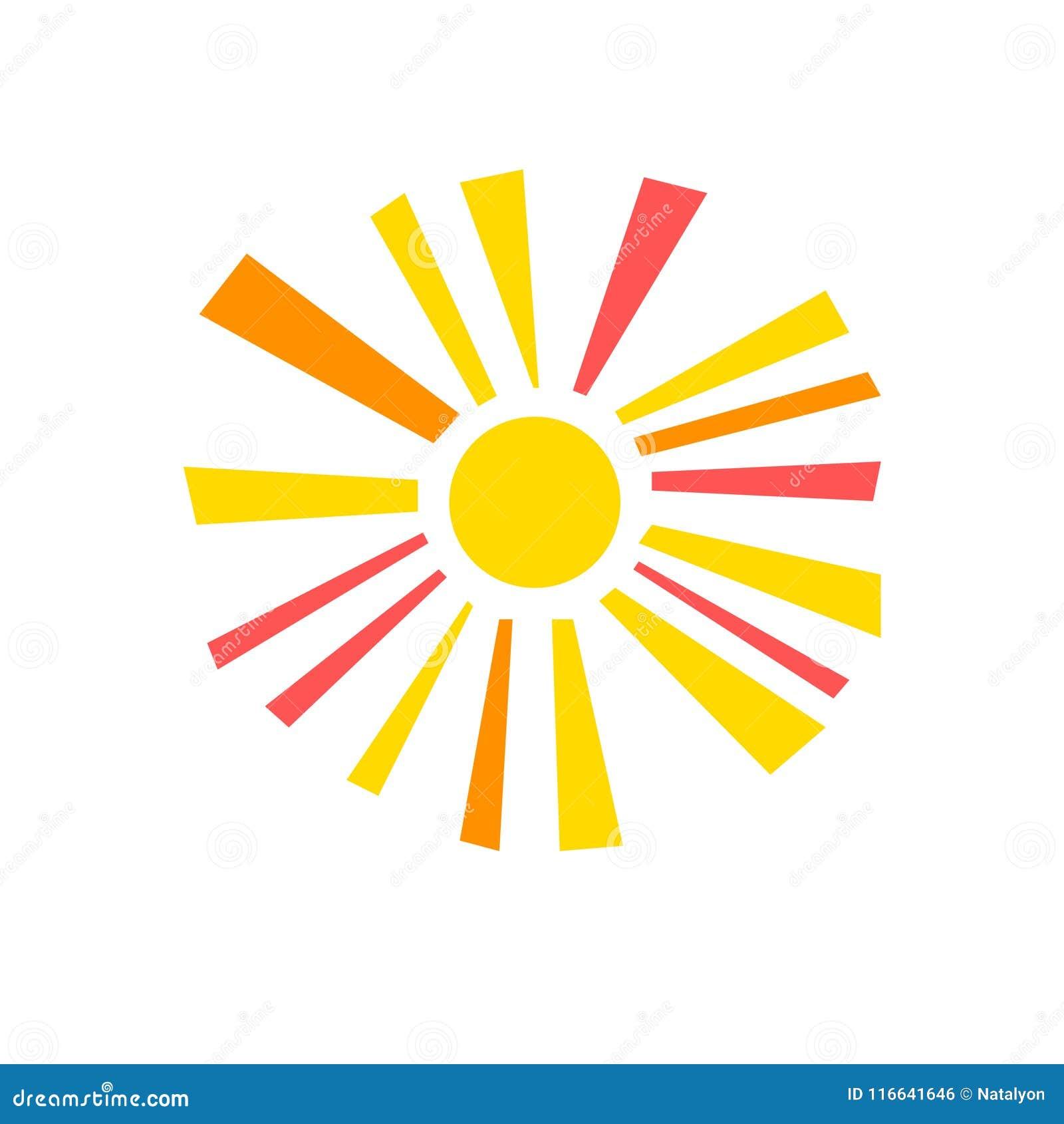 Ζωηρόχρωμος απλός γεωμετρικός λάμποντας ήλιος με το σύμβολο ηλιαχτίδων, διάνυσμα