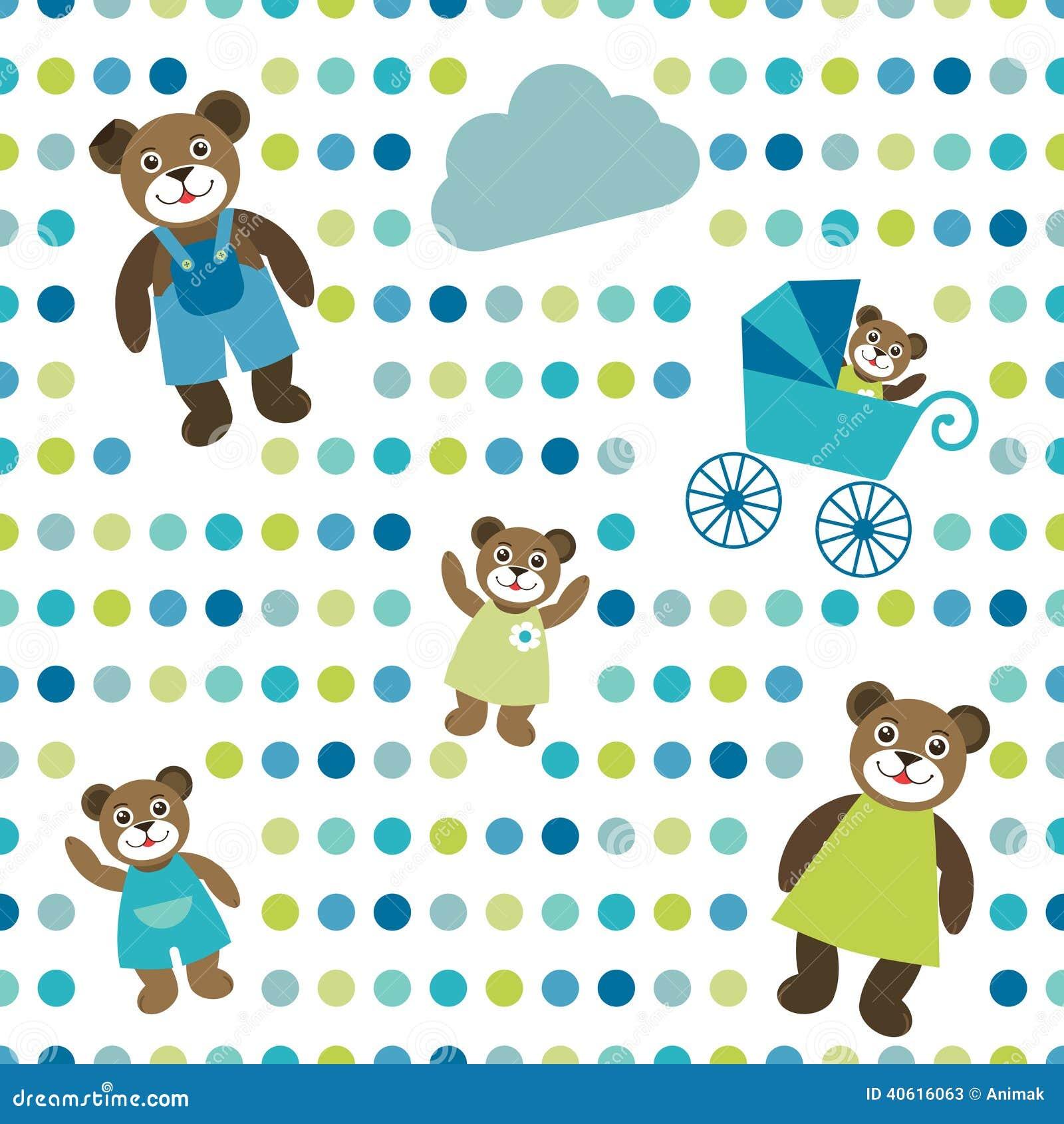 Ζωηρόχρωμος επίπεδος επαναλαμβάνει το σημείο Πόλκα εγγράφου τοίχων με το οικογενειακό σχέδιο αρκούδων