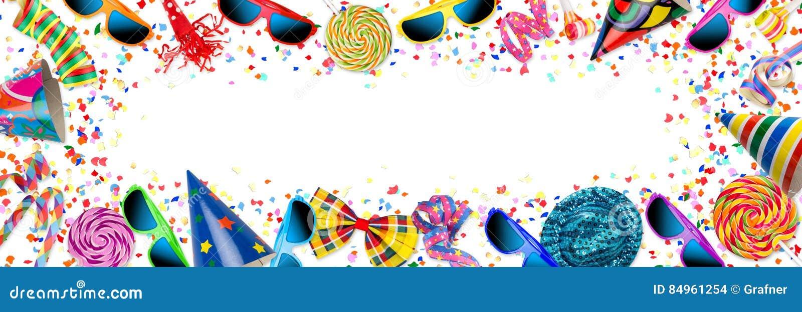 Ζωηρόχρωμος ευρύς εορτασμός γενεθλίων καρναβαλιού κομμάτων πανοράματος backg