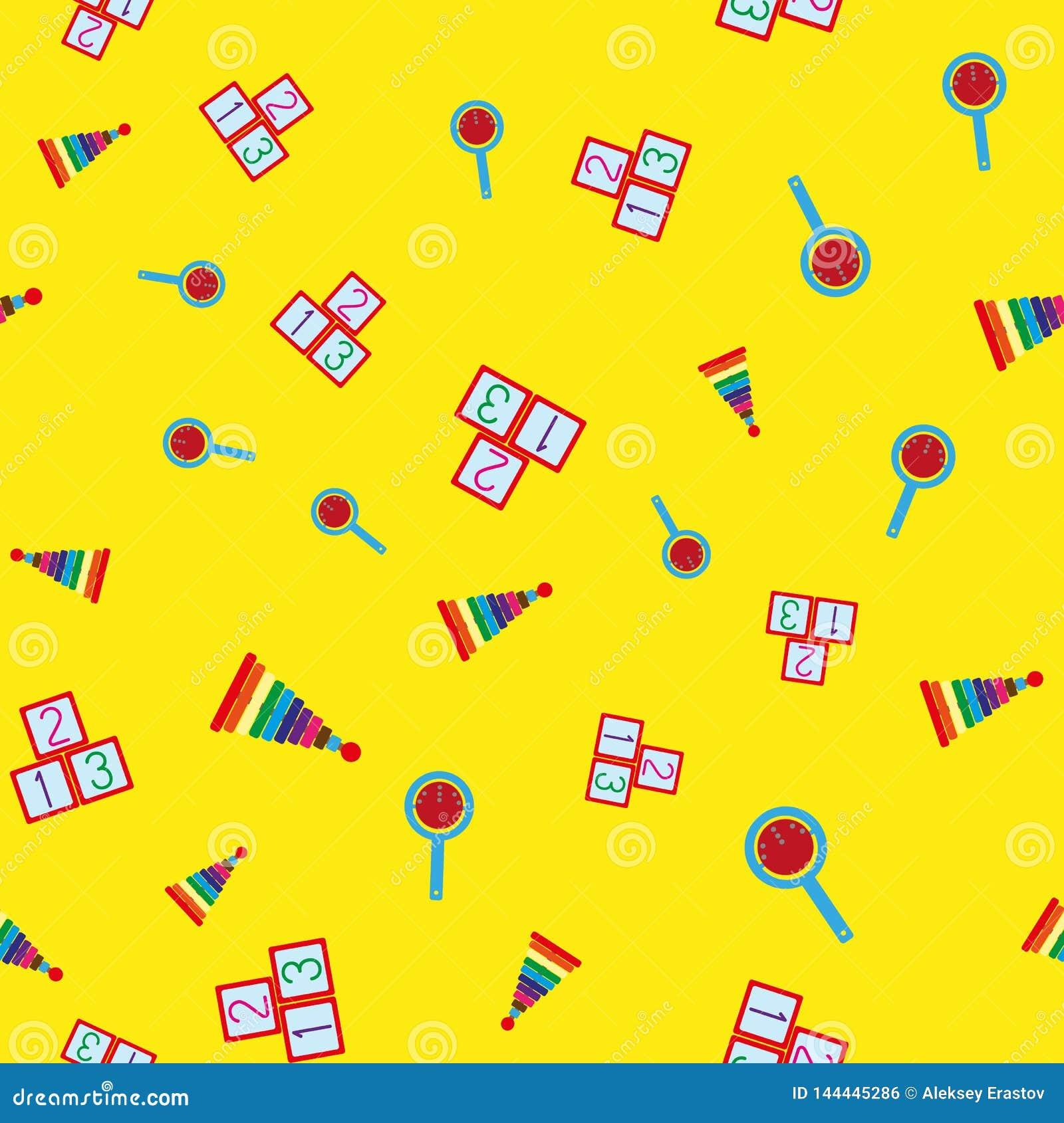 Ζωηρόχρωμο άνευ ραφής σχέδιο με τα παιχνίδια των παιδιών Επαναλαμβανόμενες πυραμίδες, κουδουνίσματα, κύβοι με τους αριθμούς