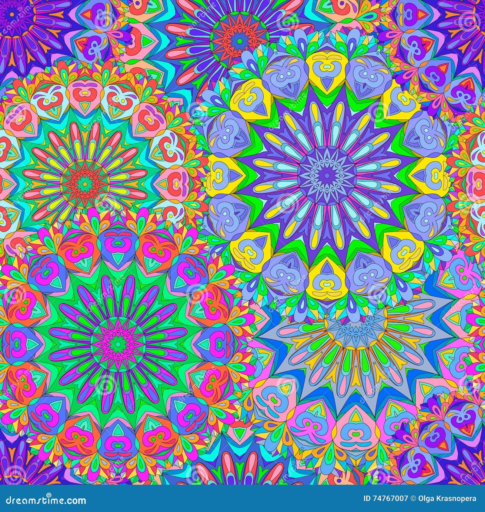 Ζωηρόχρωμο άνευ ραφής mandala σχεδίων