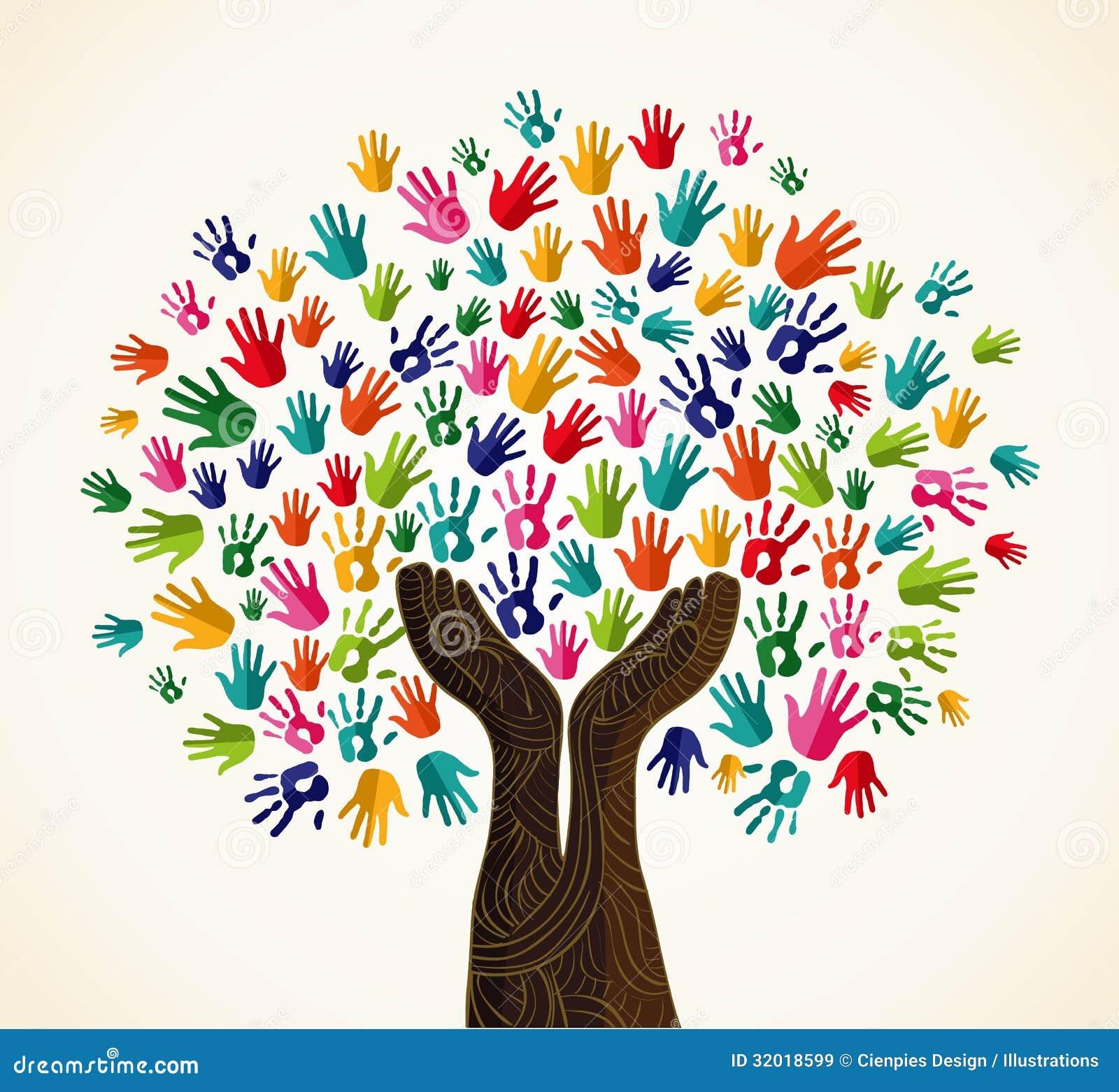 Ζωηρόχρωμο δέντρο σχεδίου αλληλεγγύης