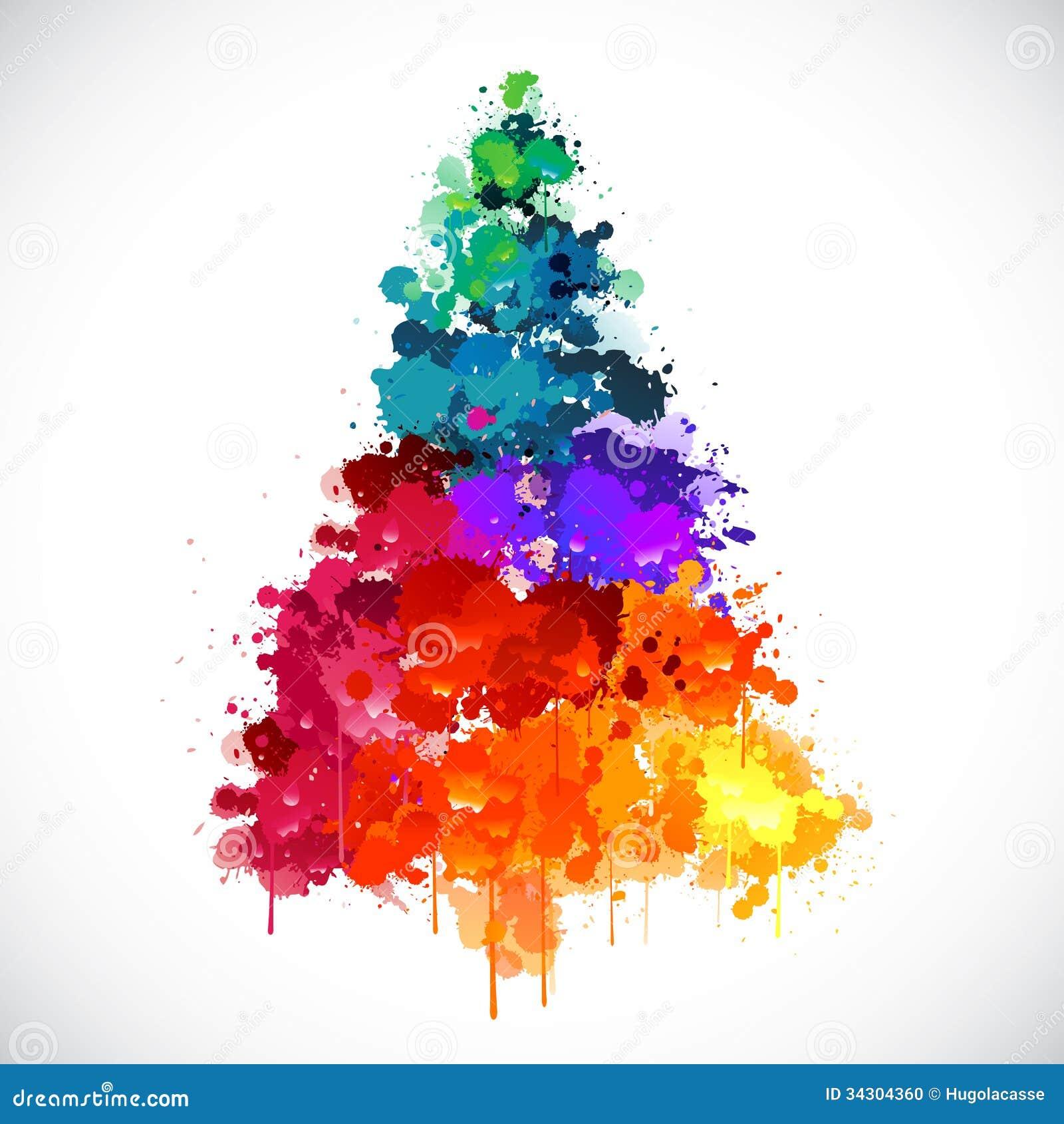 Ζωηρόχρωμο αφηρημένο χριστουγεννιάτικο δέντρο χρωμάτων spash