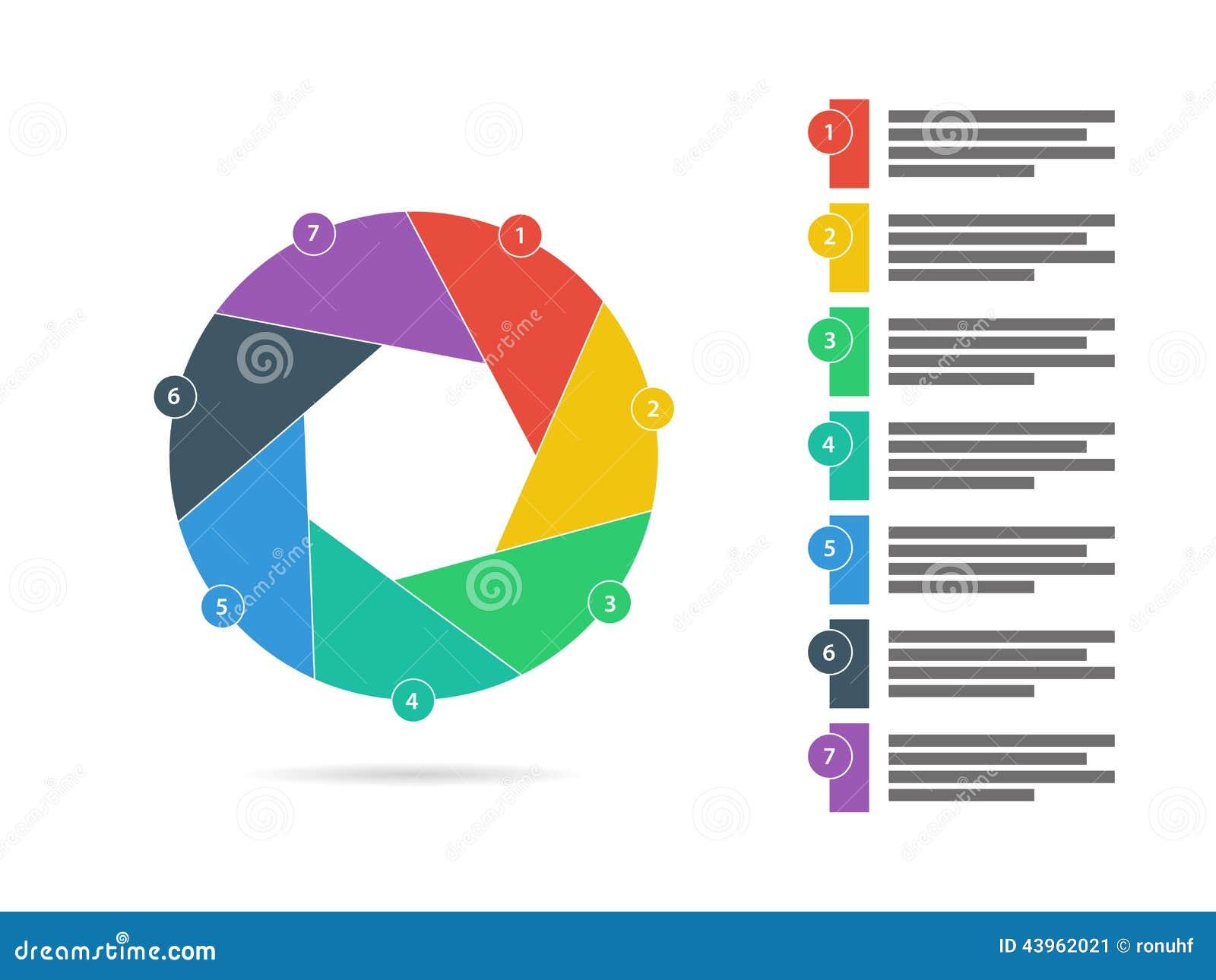 Ζωηρόχρωμο επτά πλαισιωμένο επίπεδο παραθυρόφυλλων γρίφων διάνυσμα διαγραμμάτων διαγραμμάτων παρουσίασης infographic