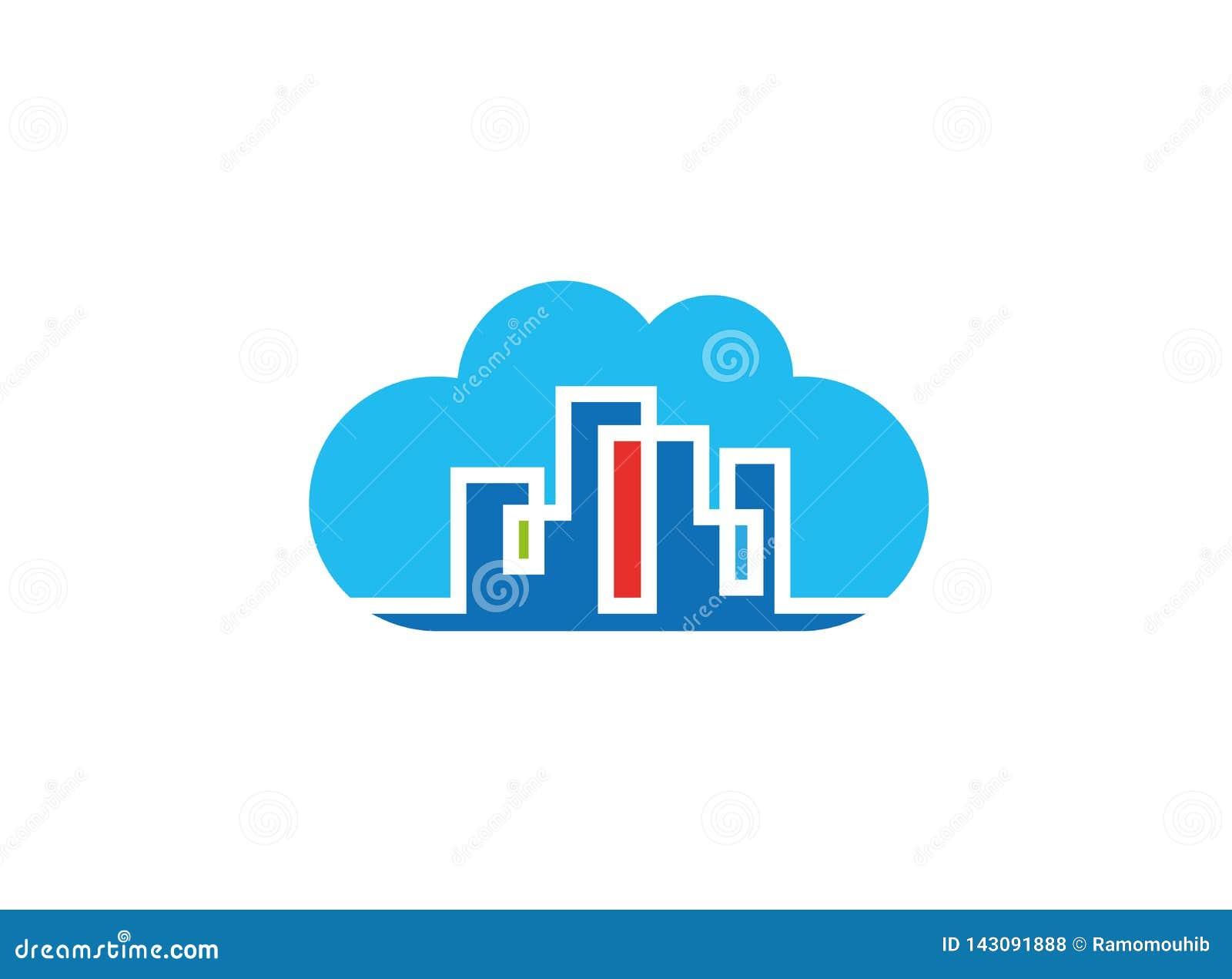 Ζωηρόχρωμο κτήριο townhouse μέσα σε ένα μεγάλο σχέδιο λογότυπων σύννεφων