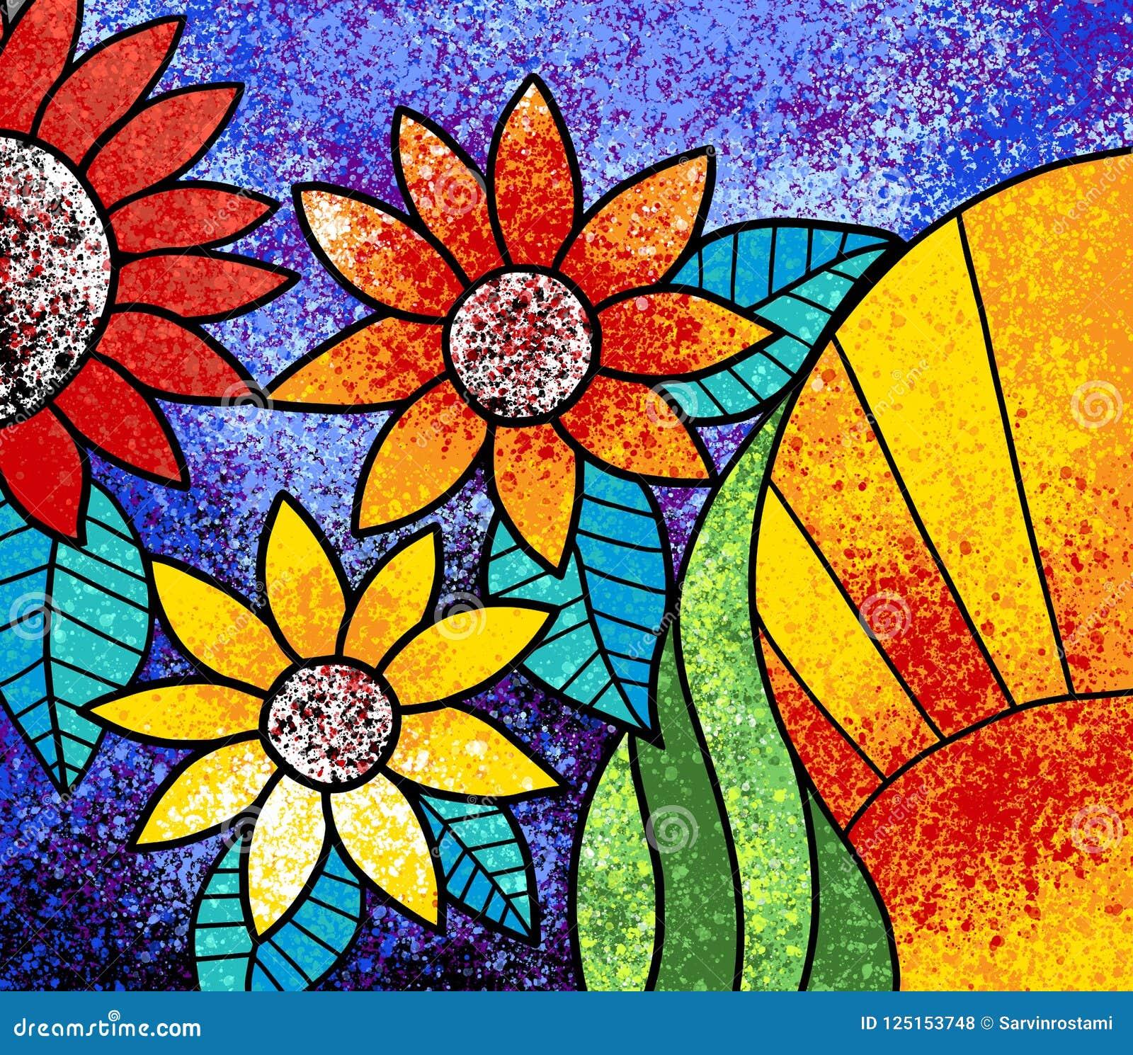 Ζωηρόχρωμο λουλουδιών έργο τέχνης ζωγραφικής καμβά ψηφιακό