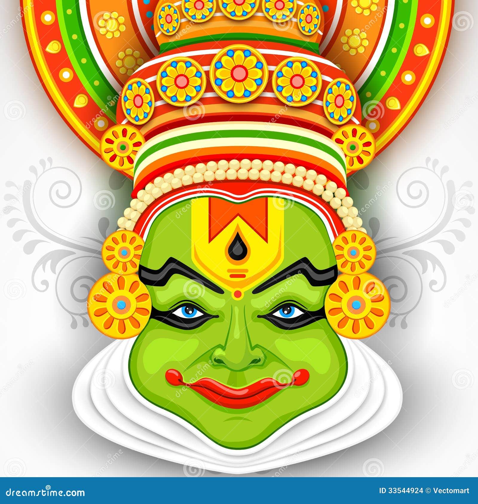 Ζωηρόχρωμο πρόσωπο Kathakali