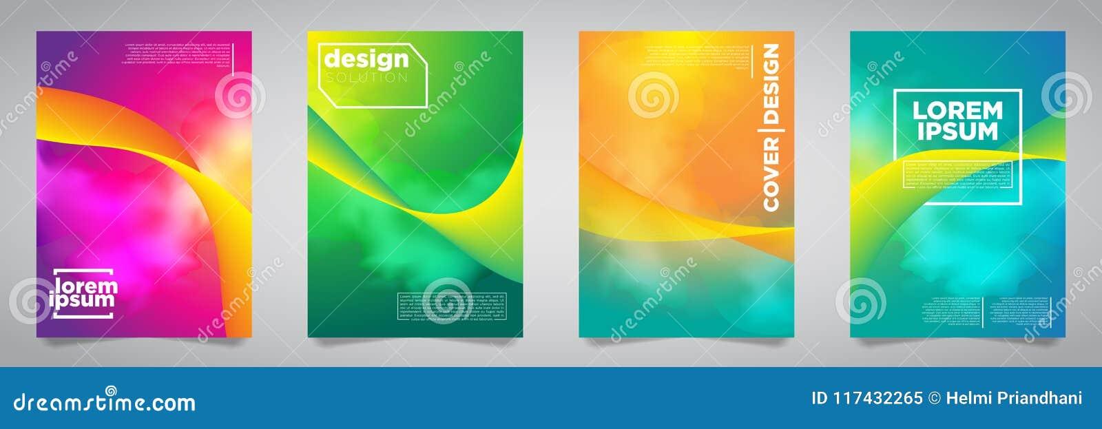 Ζωηρόχρωμο φουτουριστικό μινιμαλιστικό σχέδιο καλύψεων EPS10 διανυσματική απεικόνιση