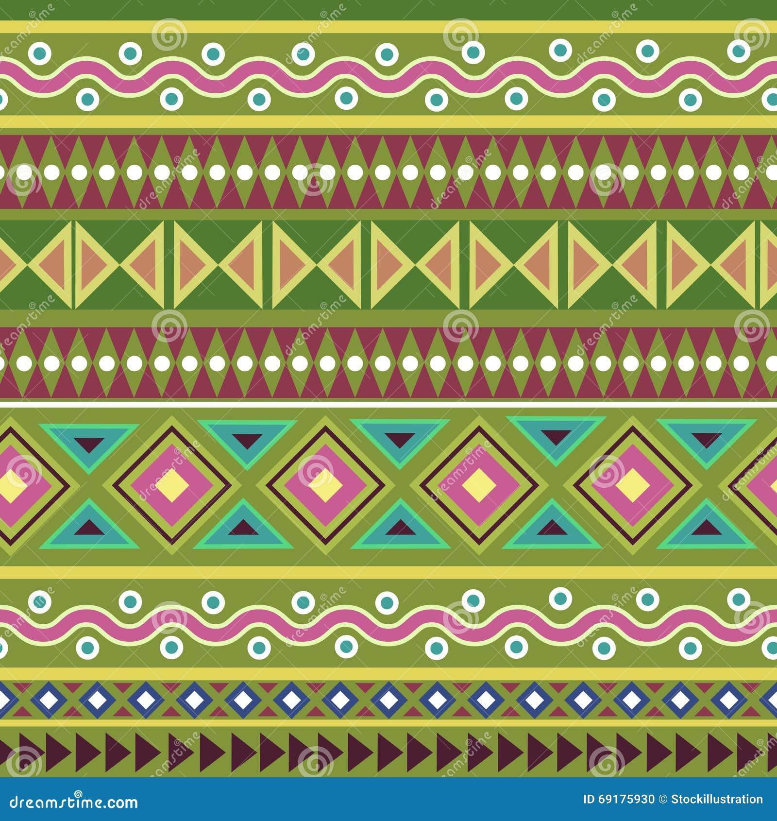 Ζωηρόχρωμο φυλετικό γεωμετρικό των Αζτέκων άνευ ραφής σχέδιο