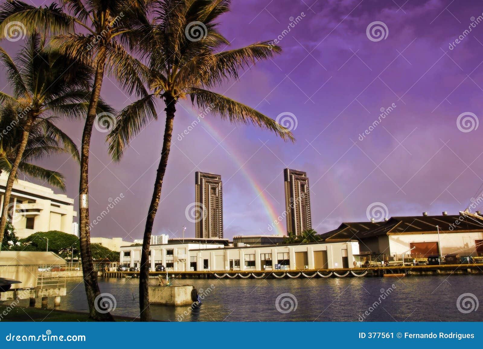 ζωηρόχρωμο dusk λιμάνι hawaiin