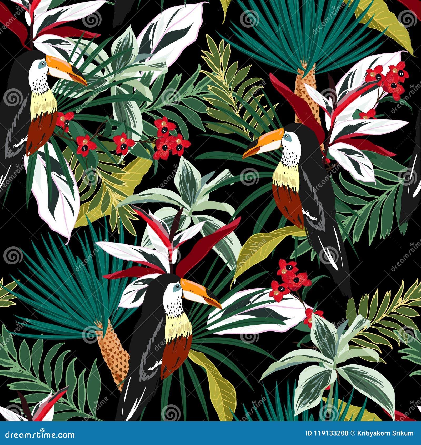Ζωηρόχρωμο Toucan, εξωτικά πουλιά, τροπικά λουλούδια, φύλλα φοινικών, ju