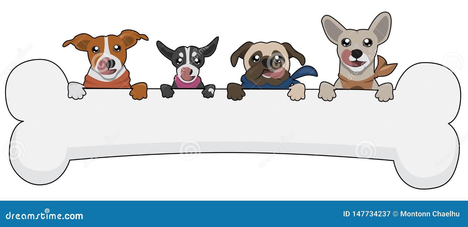Ζωικό σκυλί κινούμενων σχεδίων χαριτωμένο με το μωρό κατοικίδιων ζώων ζώων απεικόνισης κόκκαλων αστείο