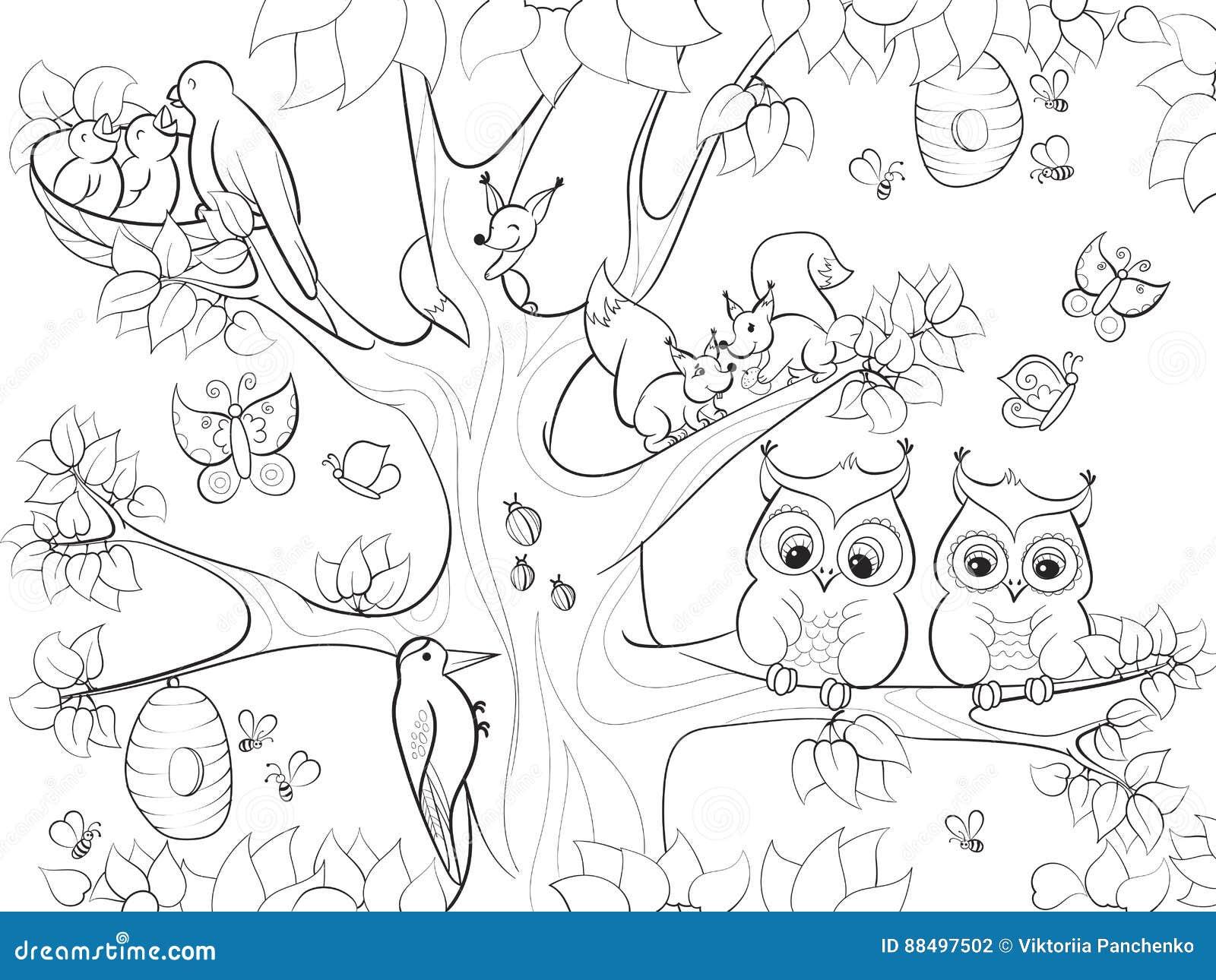 Ζώα και πουλιά που ζουν στο δέντρο που χρωματίζει για τη διανυσματική απεικόνιση κινούμενων σχεδίων παιδιών