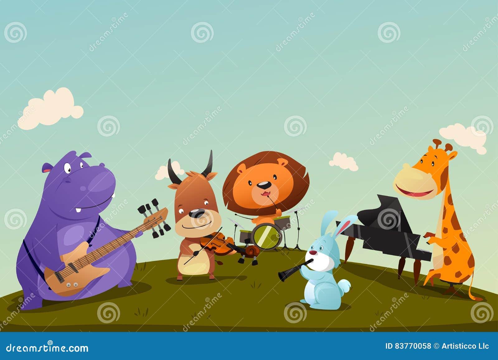 Ζώα που παίζουν το όργανο μουσικής σε μια ζώνη