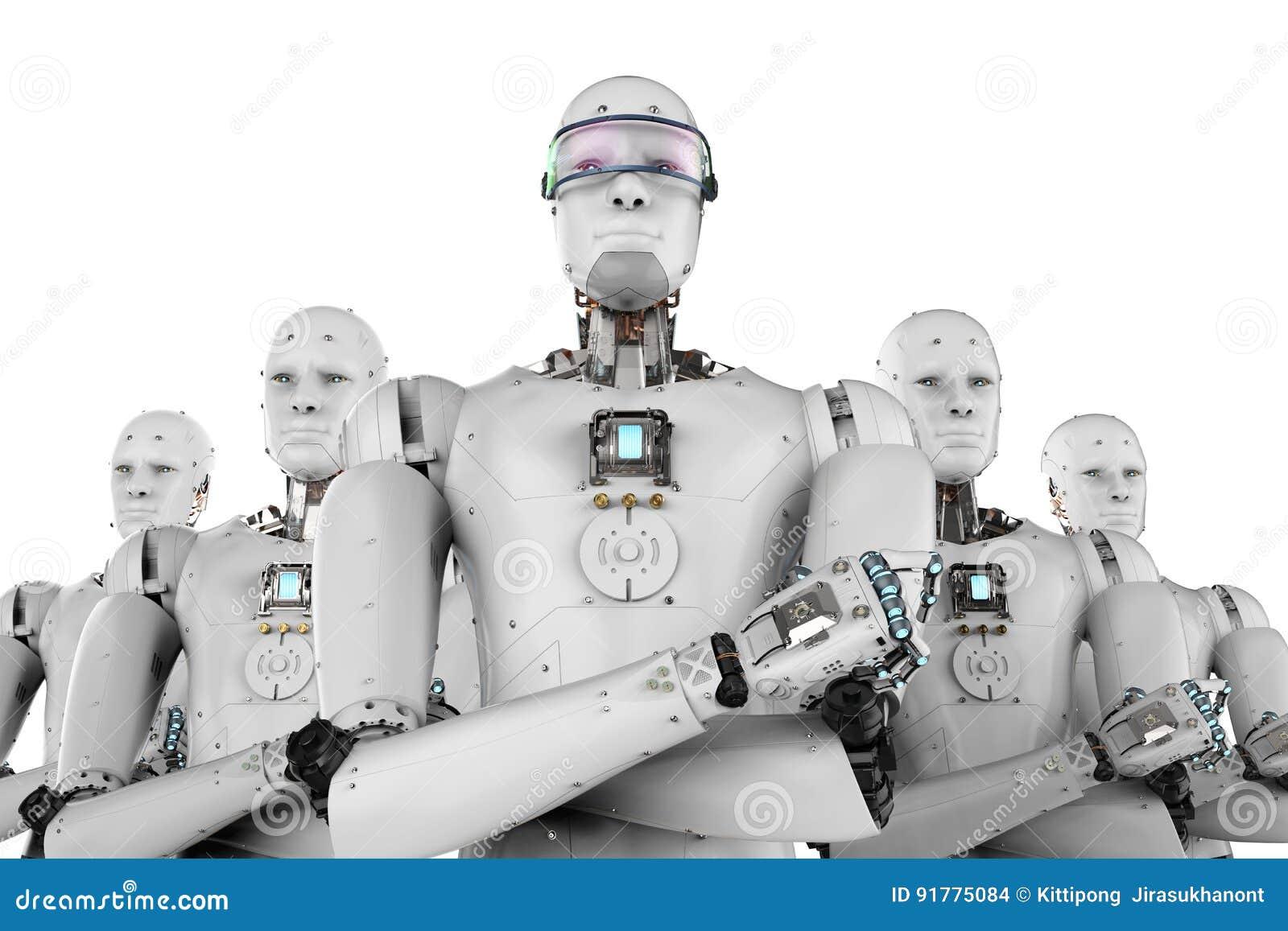 Ηγέτης ρομπότ με την ομάδα