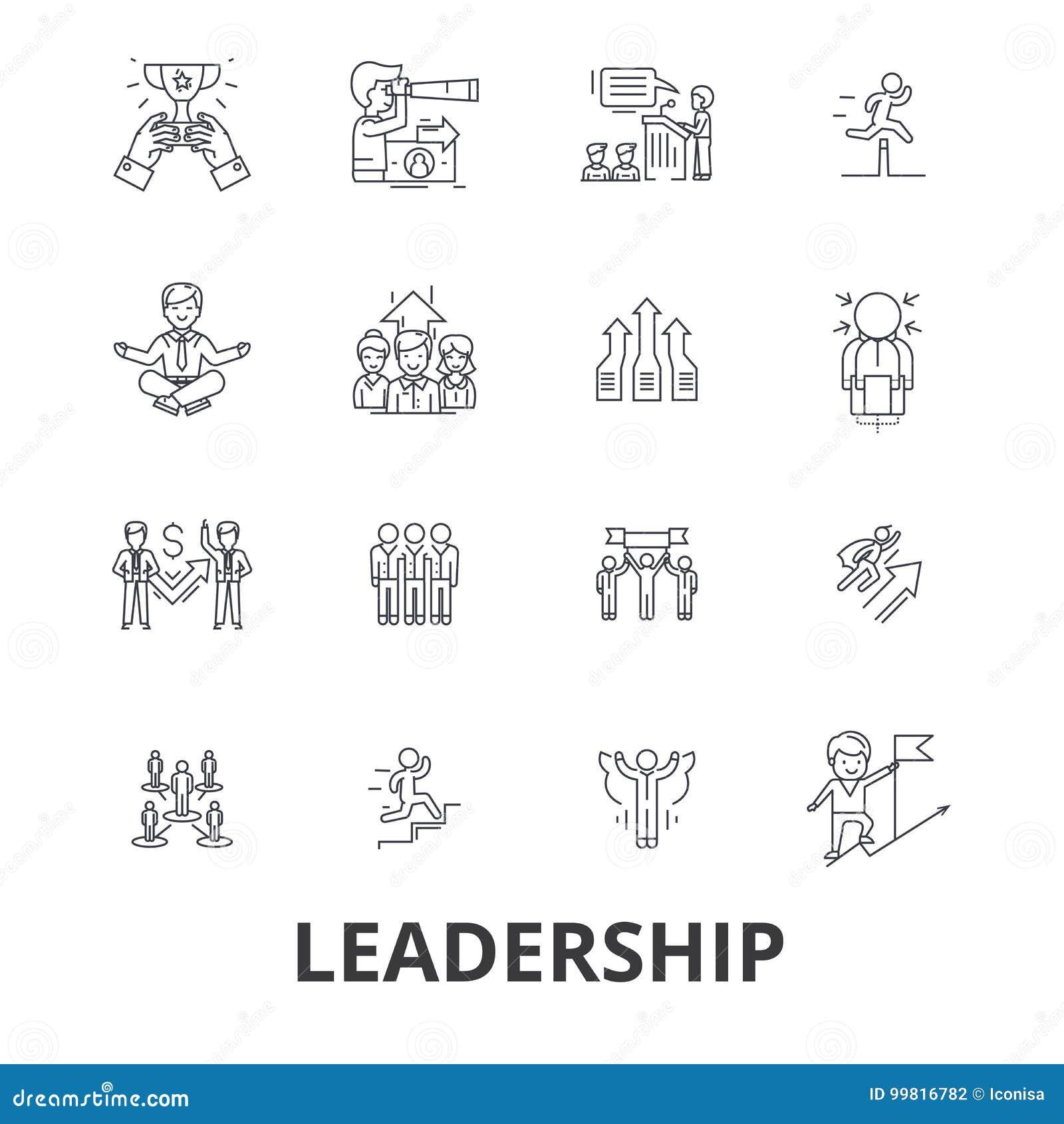 Ηγεσία, ηγέτης, διαχείριση, ομαδική εργασία, μόλυβδος, ανάπτυξη, επιτυχία, εικονίδια γραμμών καινοτομίας Κτυπήματα Editable επίπε