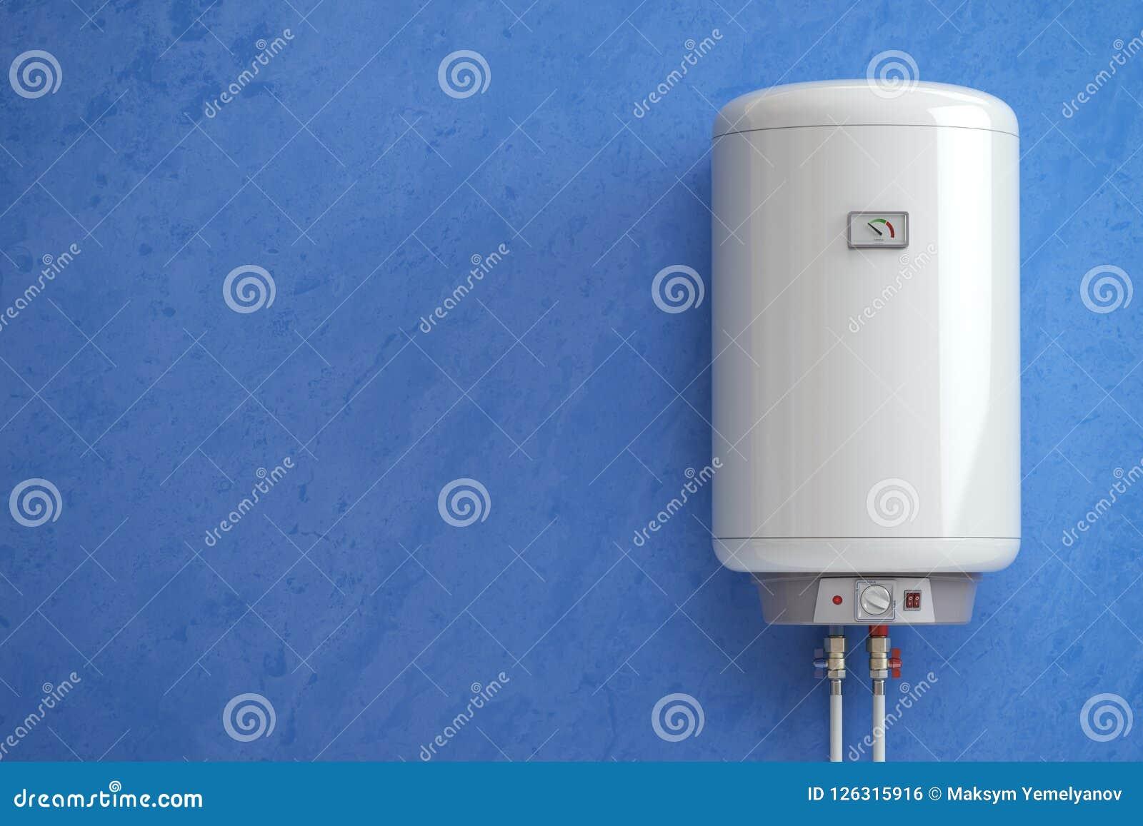 Ηλεκτρικός λέβητας, θερμοσίφωνας στον μπλε τοίχο