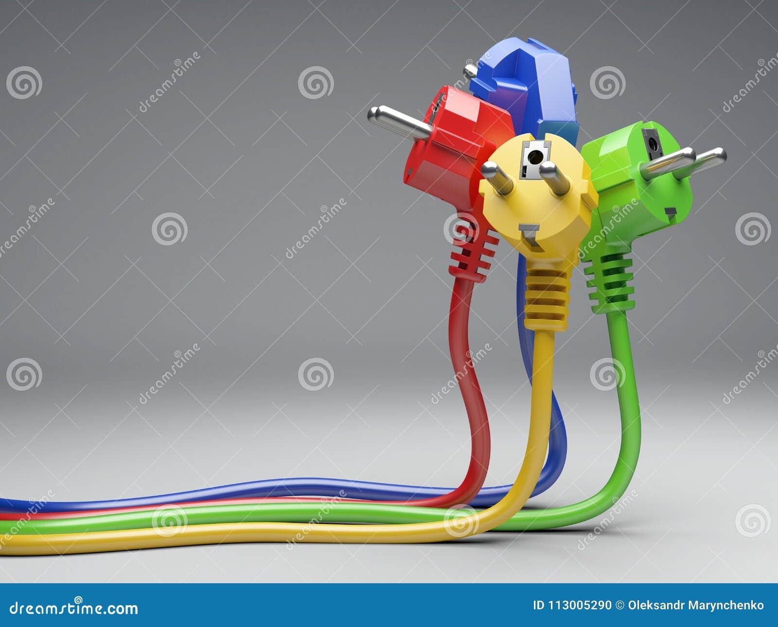 Ηλεκτρικό βούλωμα χρώματος ομάδας με τα μακριά καλώδια