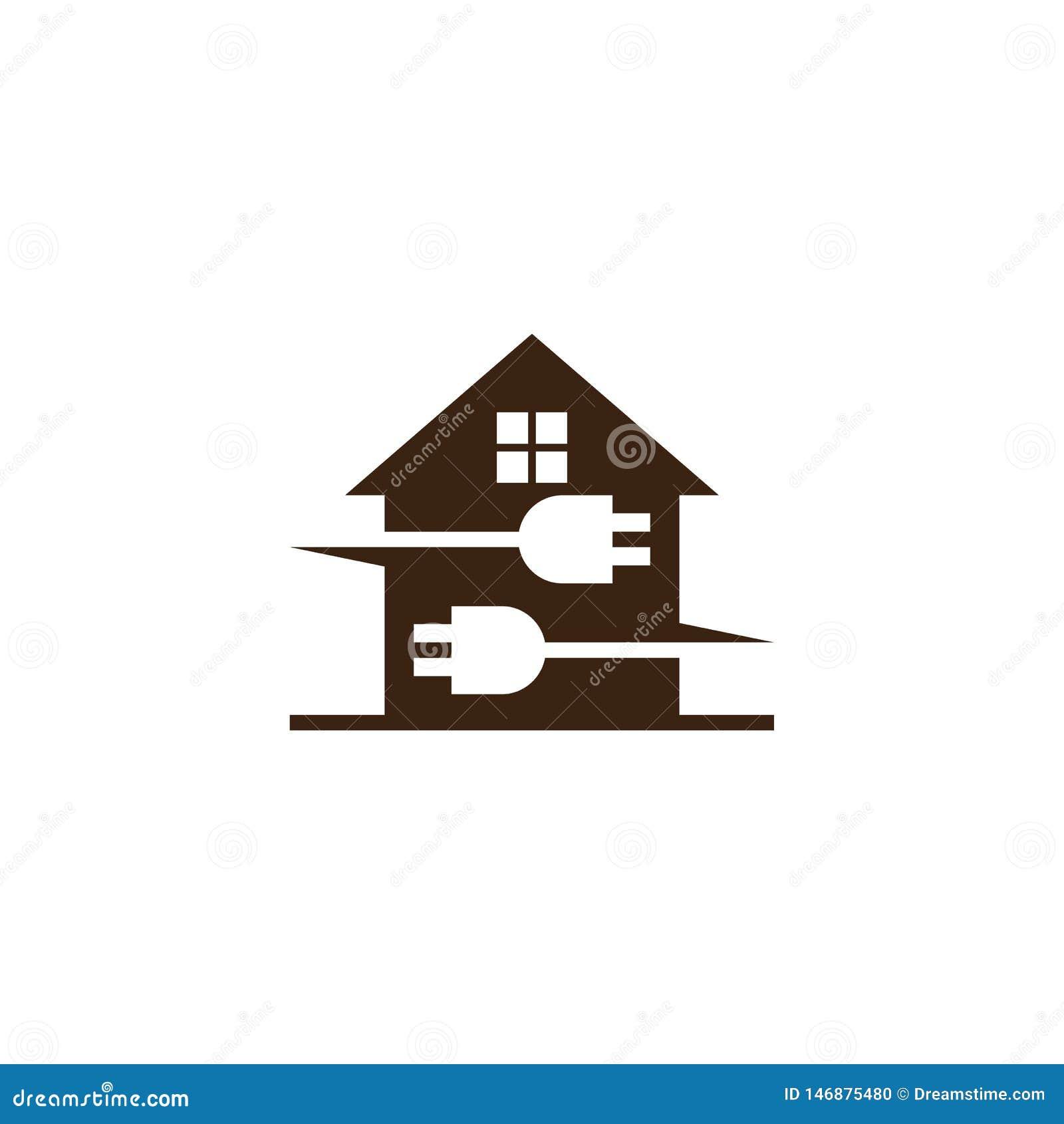 Ηλεκτρικό επιχειρησιακό λογότυπο βουλωμάτων σπιτιών